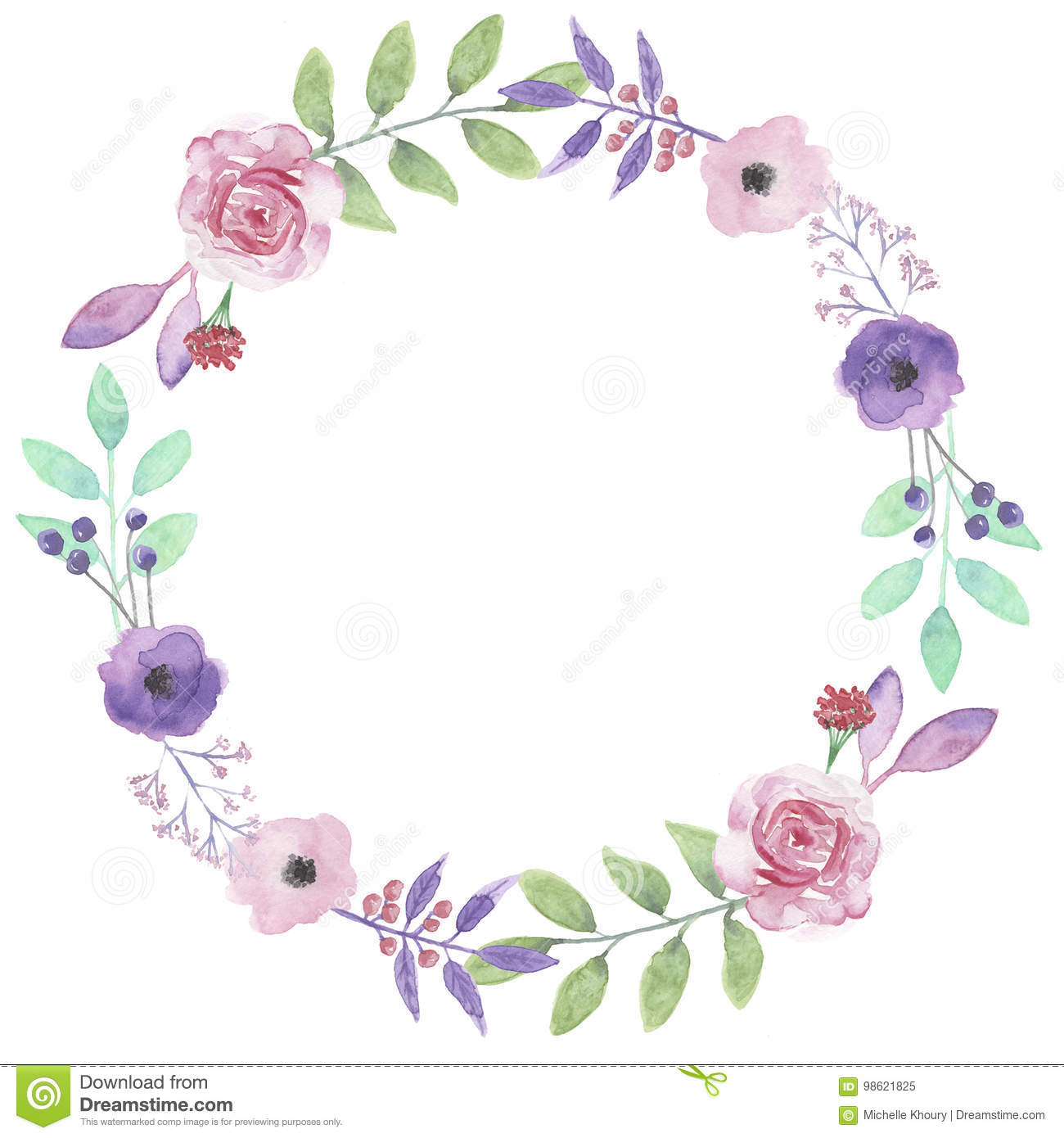 watercolor flower wreath purple rose garland leaf pink roses stock