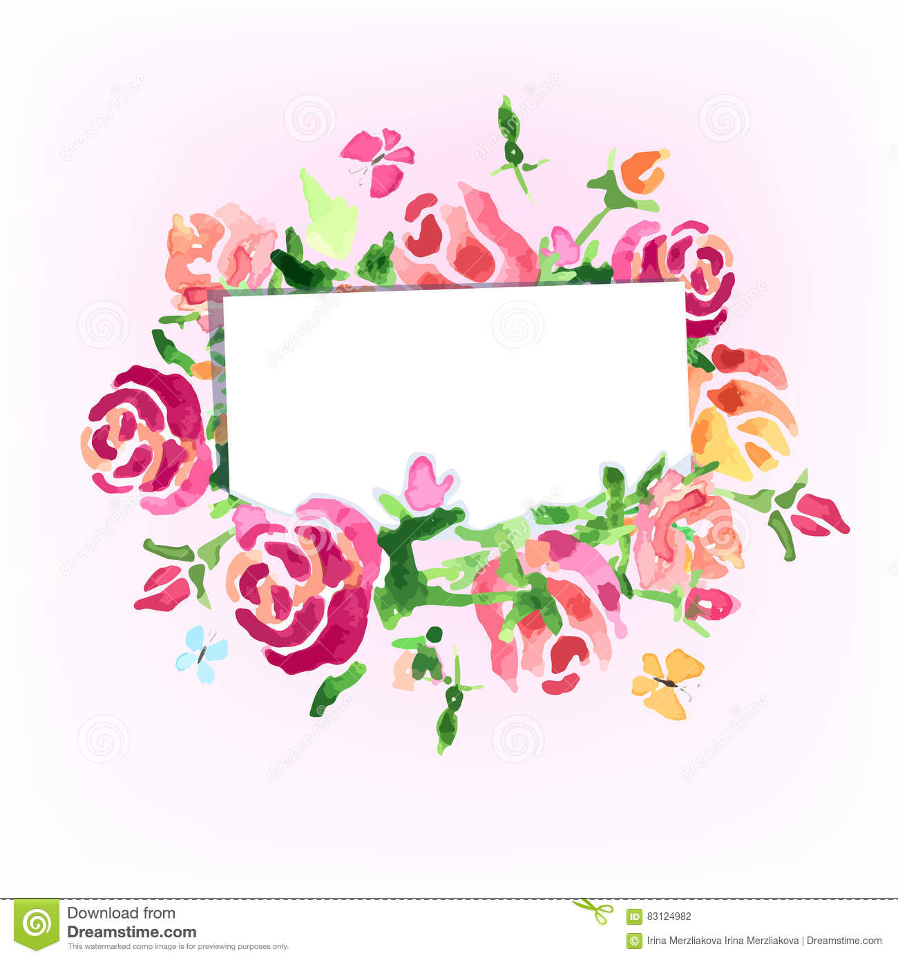 Watercolor Flowers Background On The Day Of Roses Vector Stock