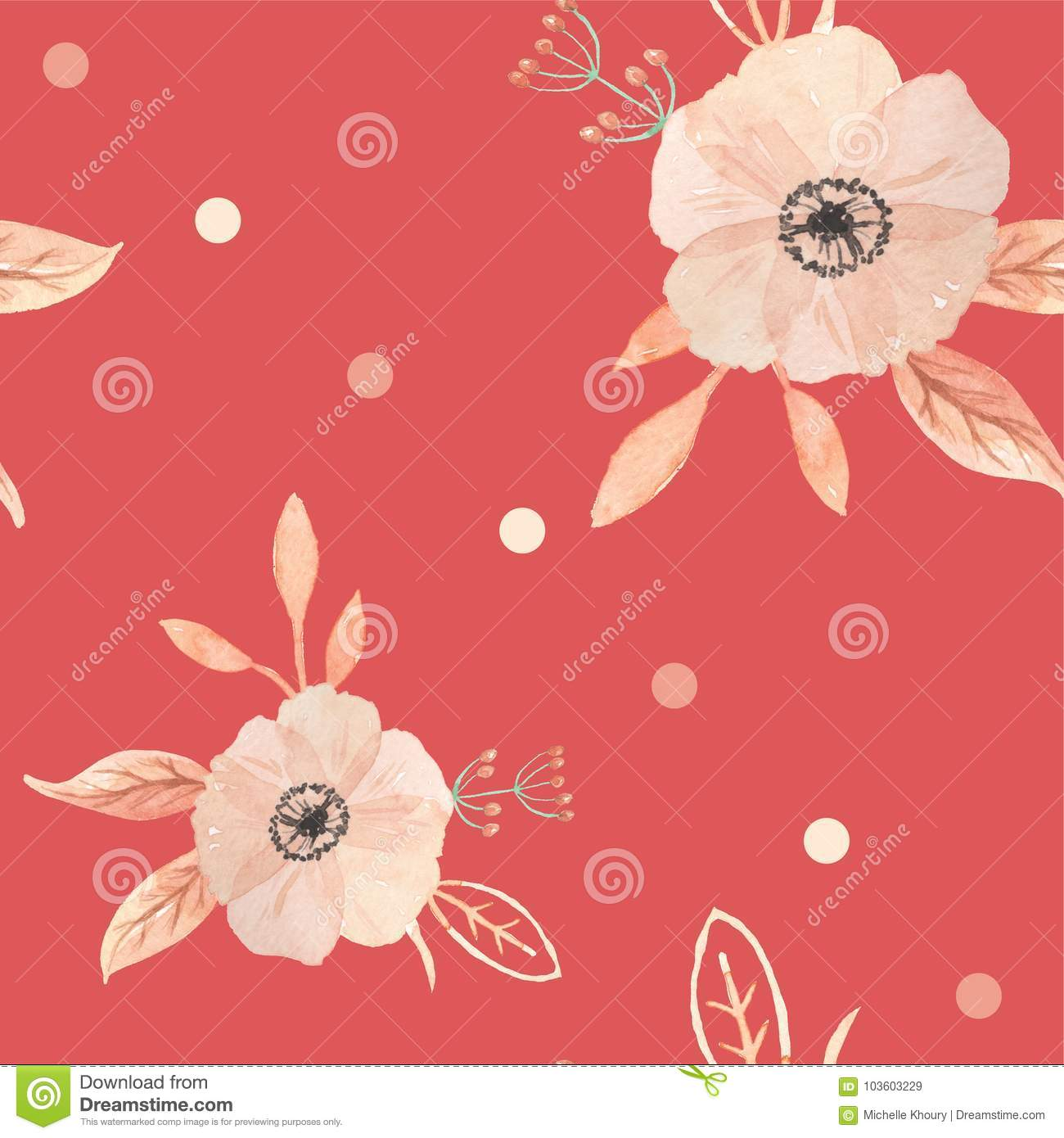 Watercolor Flowers Berries Painted Seamless Pattern Autumn Fall Stock Illustration Illustration Of Clipart Borders 103603229