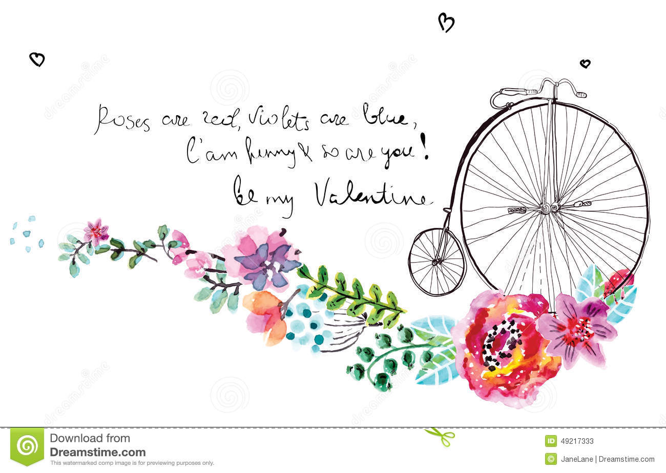 Watercolor Flowers With Bicycle Stock Vector - Image: 49217333