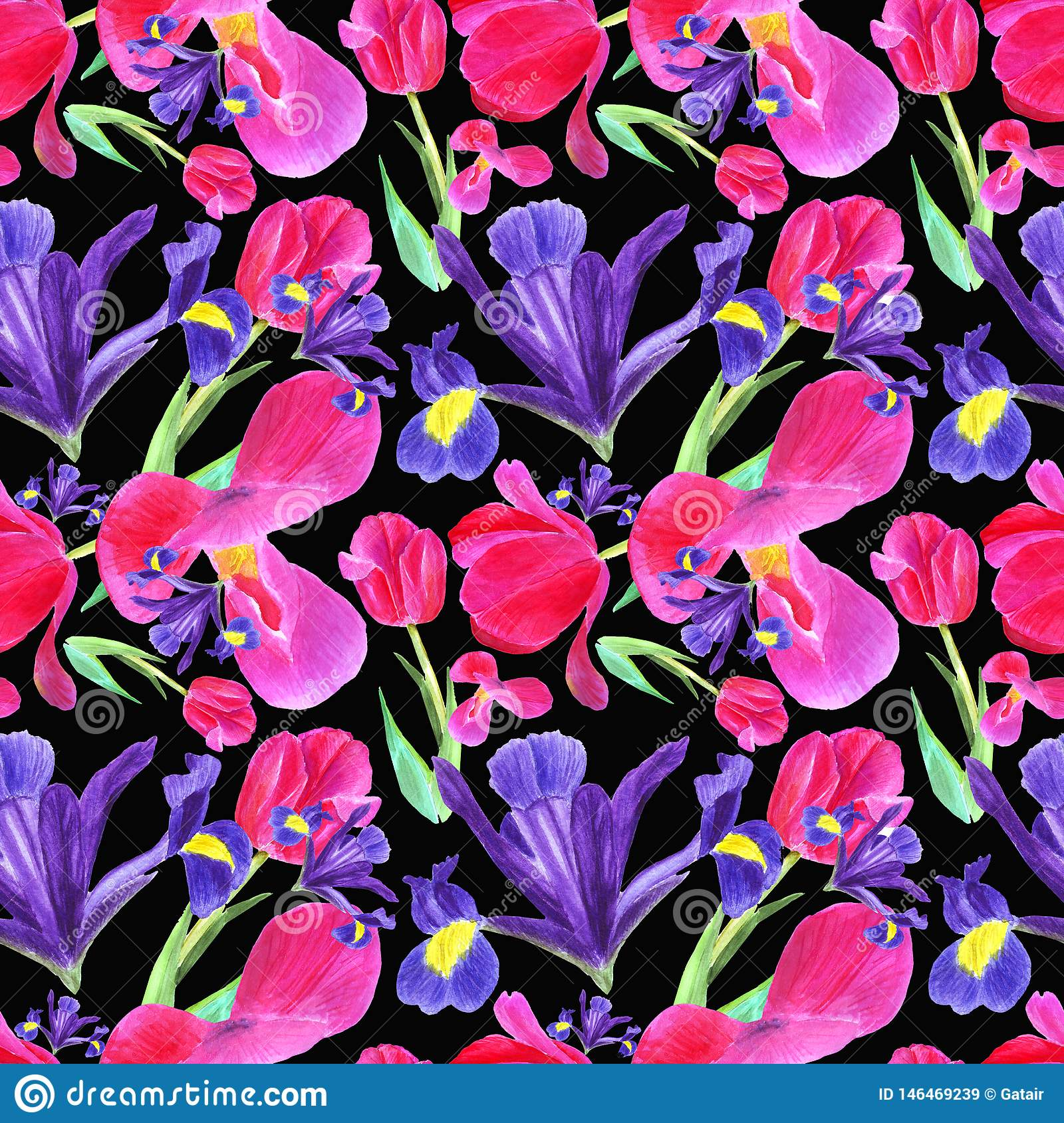 watercolor iris, tulip and leaves seamless pattern on black background