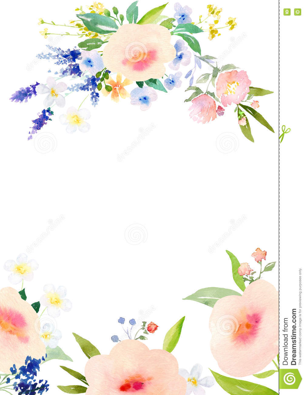 watercolor flowers card template stock illustration