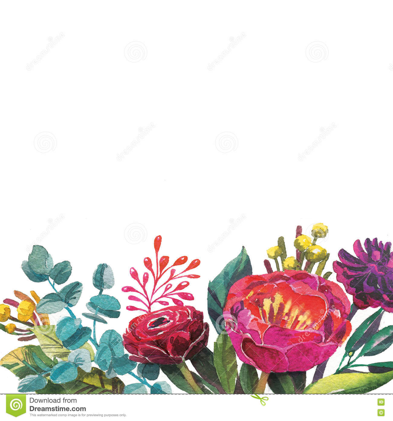 Watercolor Flowers Frame Template. Stock Illustration - Illustration ...