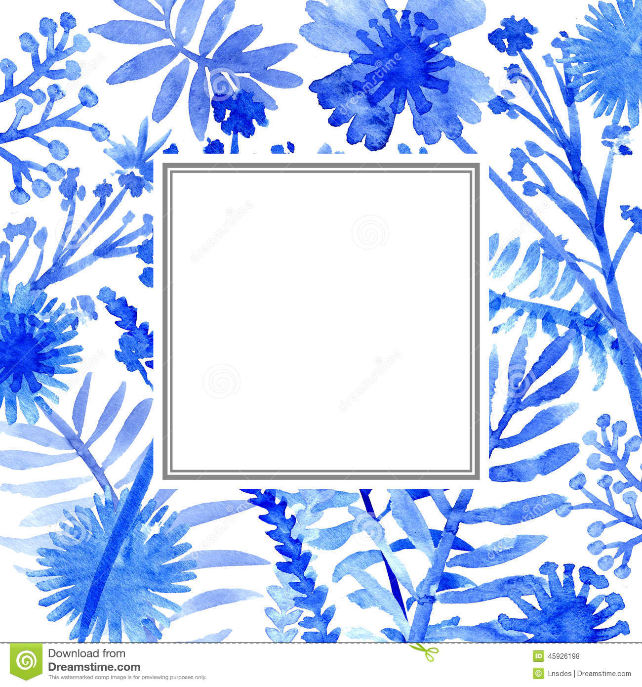 Watercolor flowers frame template card stock illustration for Watercolor painting templates free