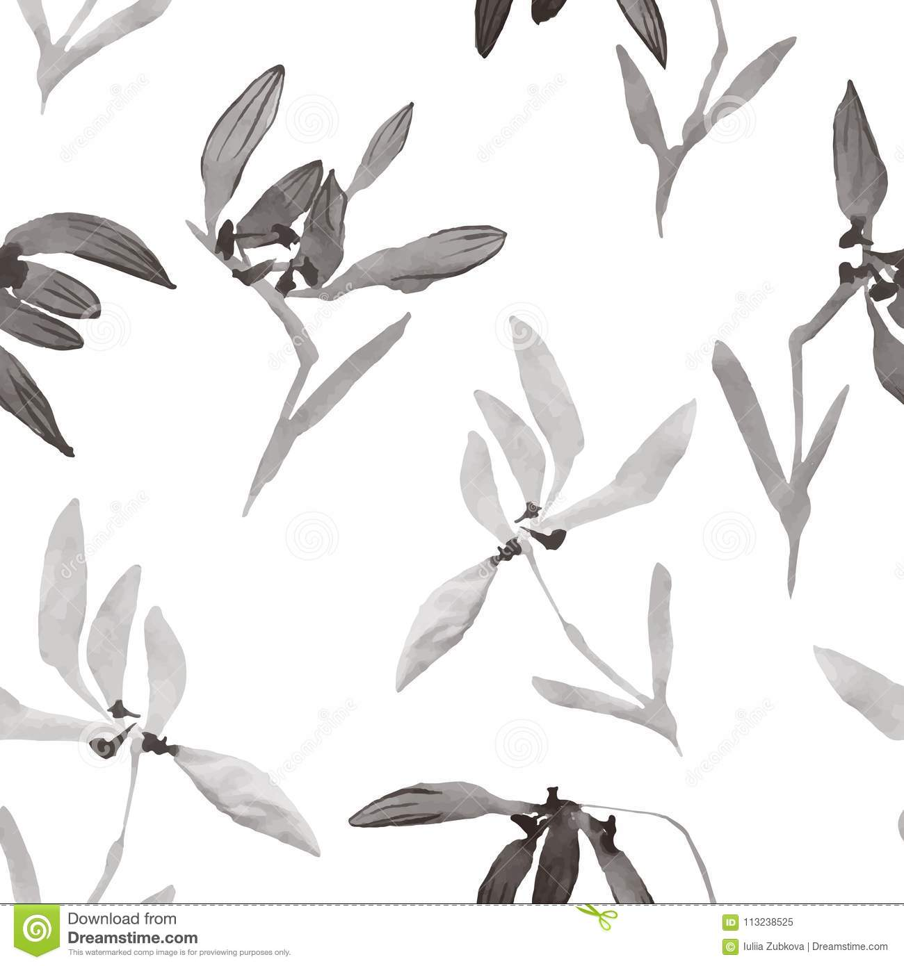watercolor flowers hand drawing seamless pattern with chinese ar