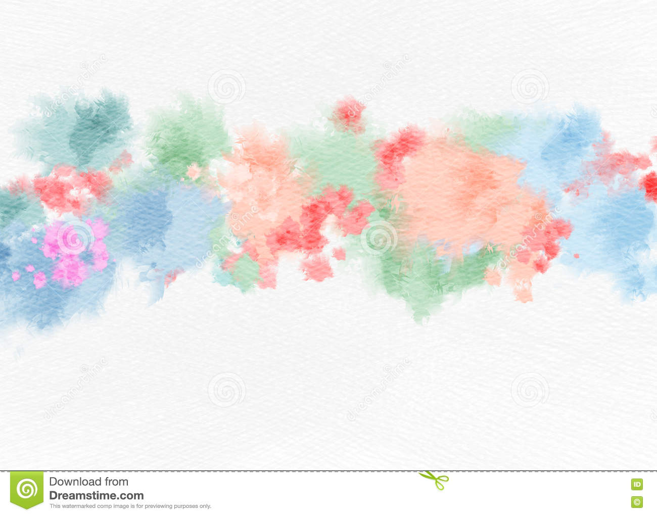 Watercolor Flowers On Paper Texture Background Stock Illustration