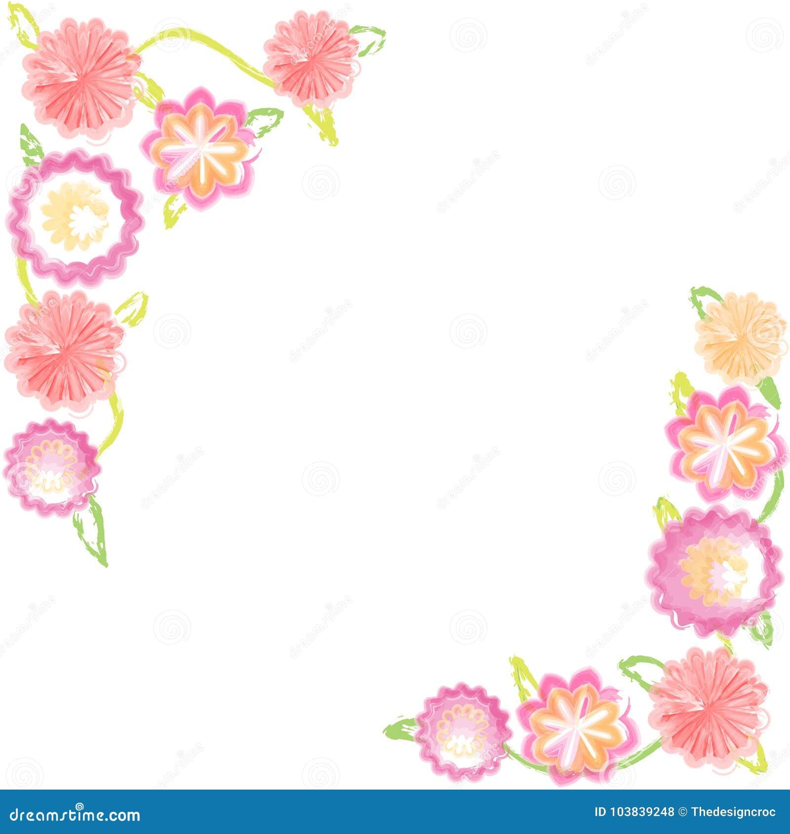 Watercolor Flowers Pink Orange White Background Summer