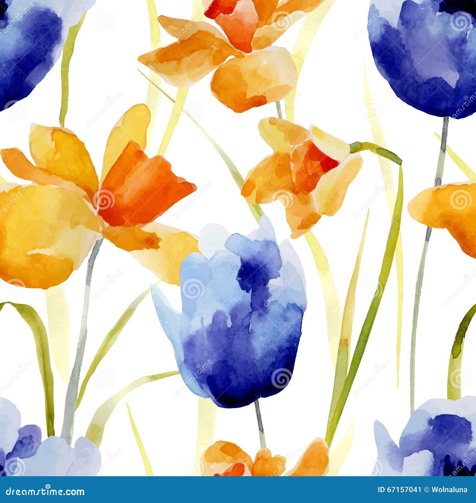 Watercolor flowers seamless pattern.