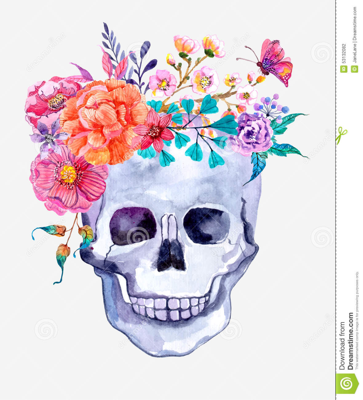 Watercolor Flowers And Skull Background Stock Illustration - Image ...