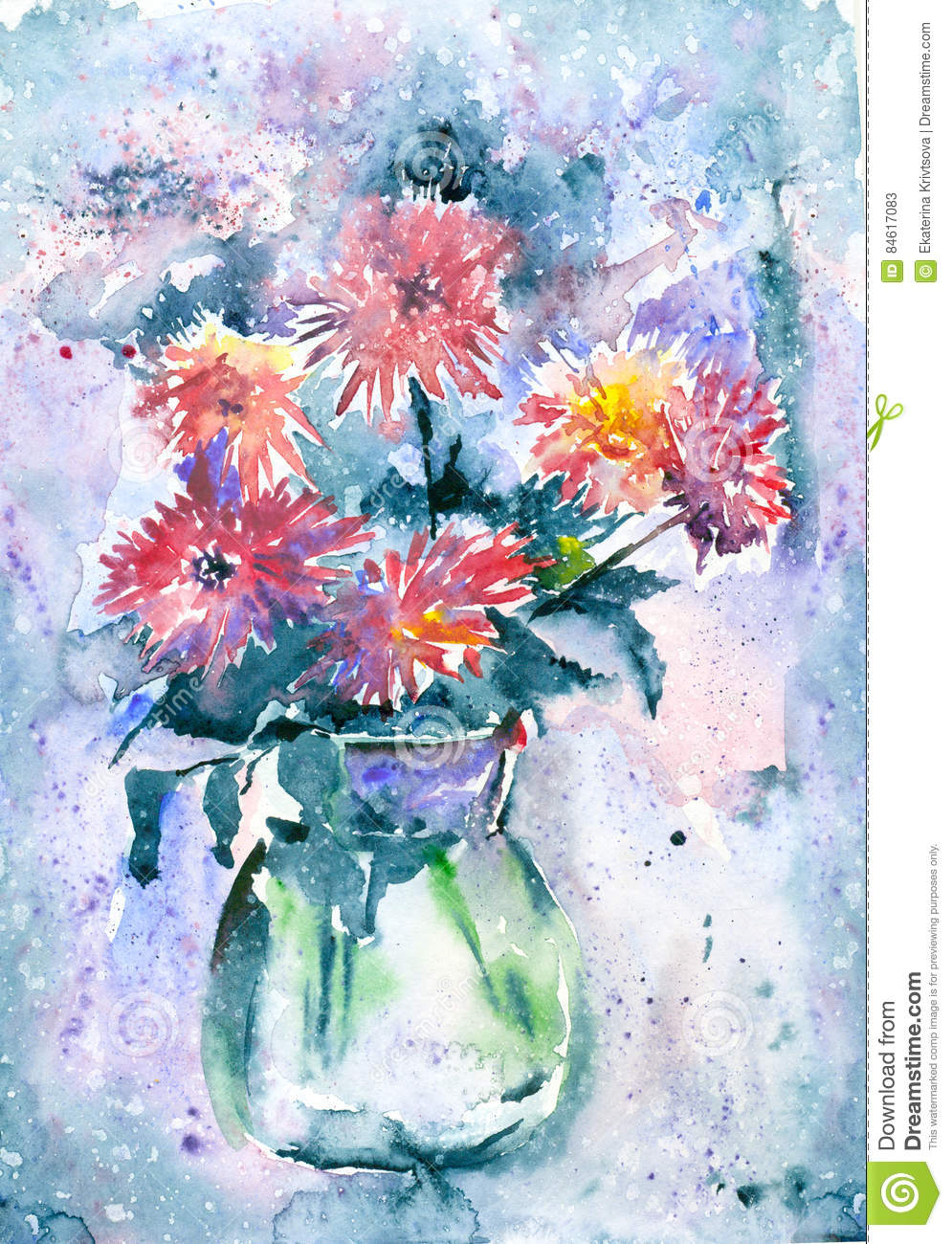 Watercolor flowers in a vase stock illustration illustration of watercolor flowers in a vase reviewsmspy