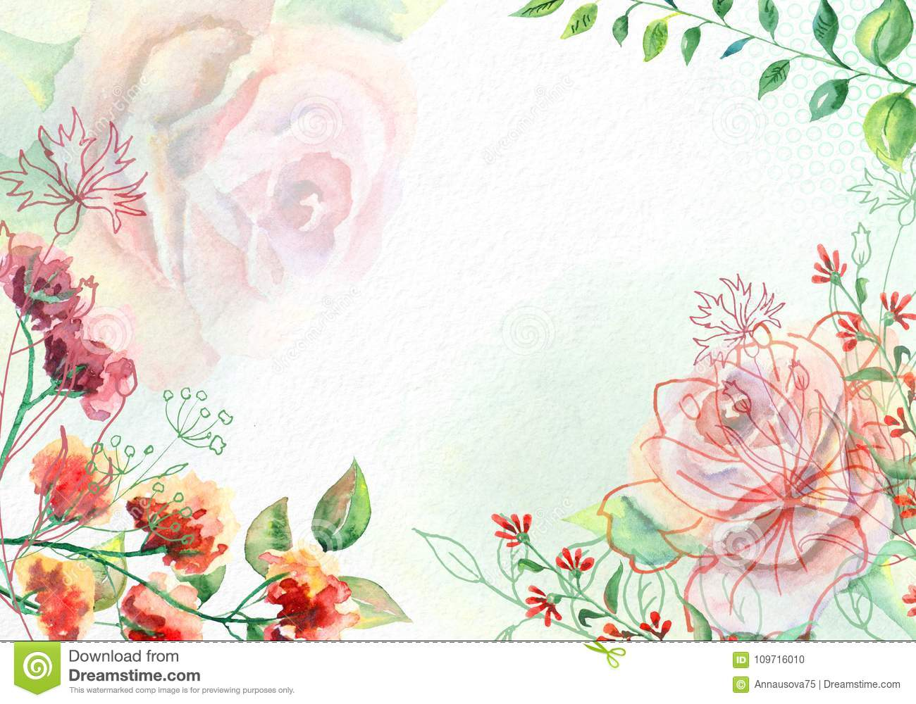 Watercolor Flowers On White Watercolor Paper Stock Photo Image Of