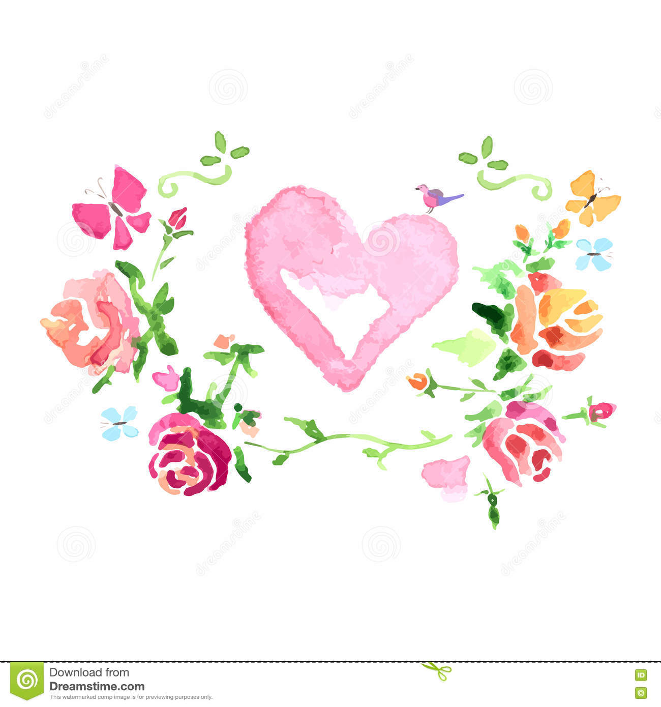 Watercolor Colorful Floral Roses Heart Royalty-Free Stock