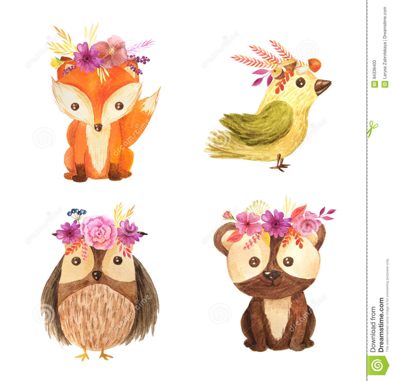 Watercolor Forest Animal Children Illustration Stock