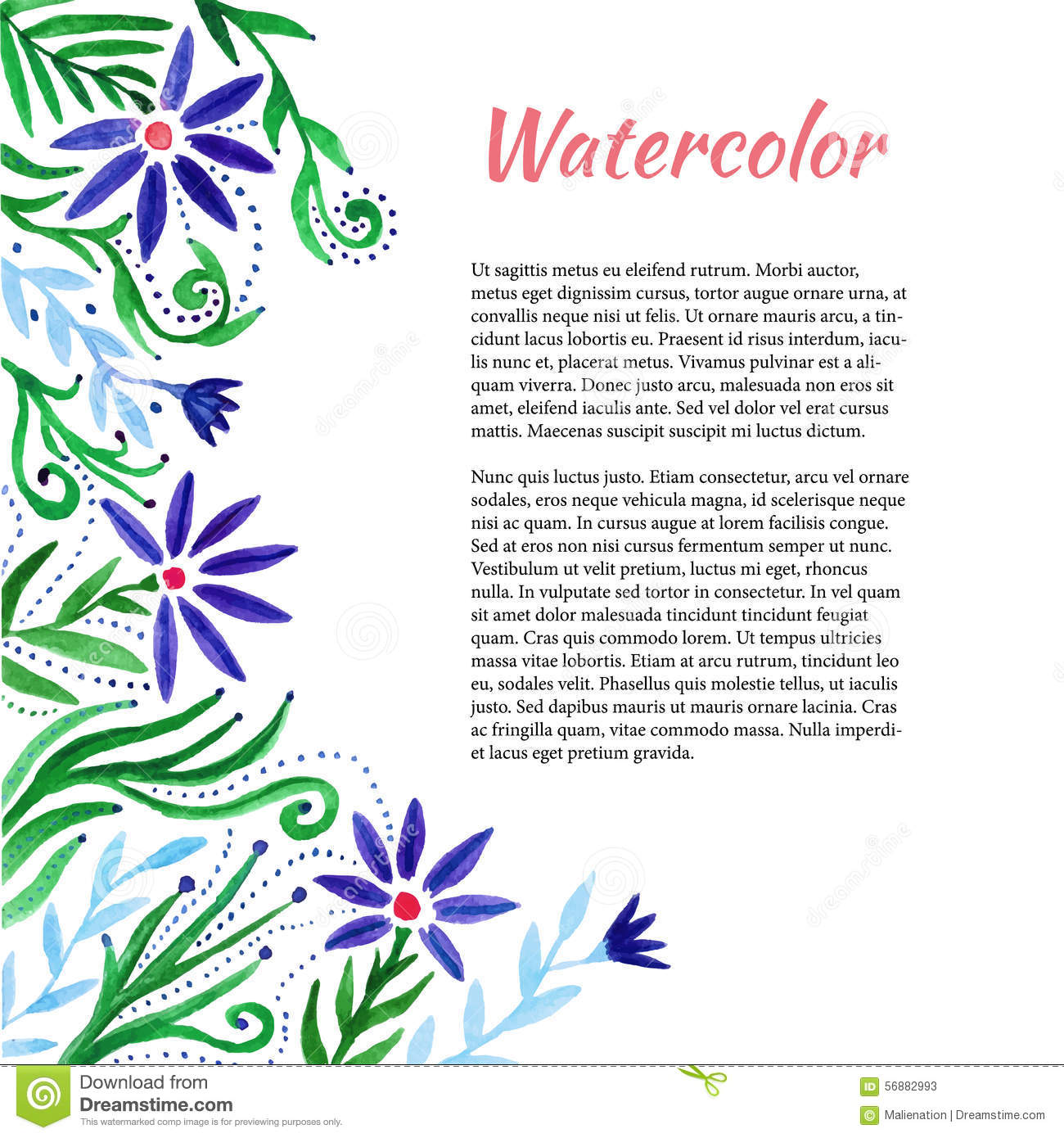 Watercolor Frame With Cute Flowers. Floral Background