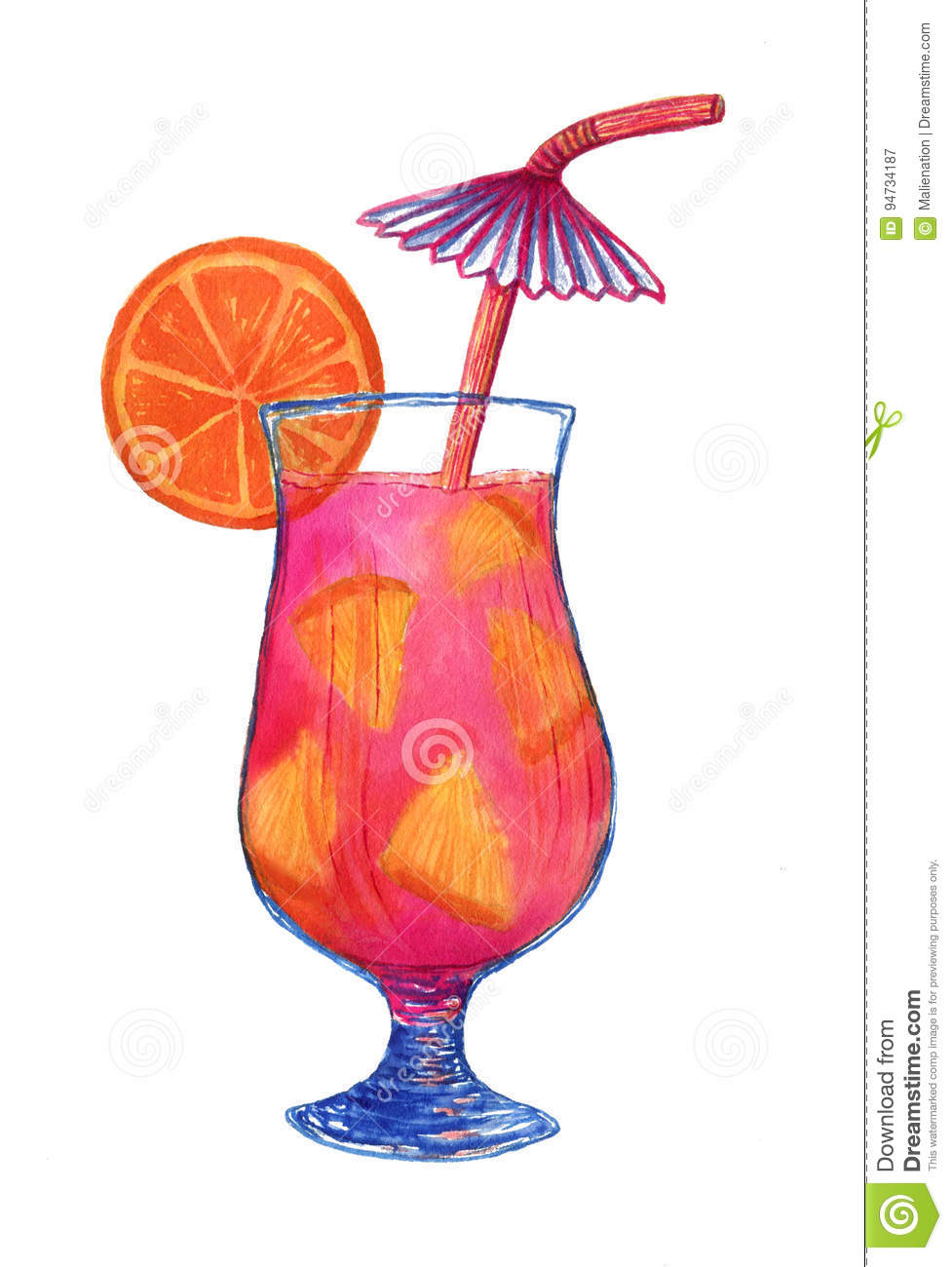 Watercolor fresh cocktail with orange fruit. Isolated illustration for menu decoration or fashion print design.