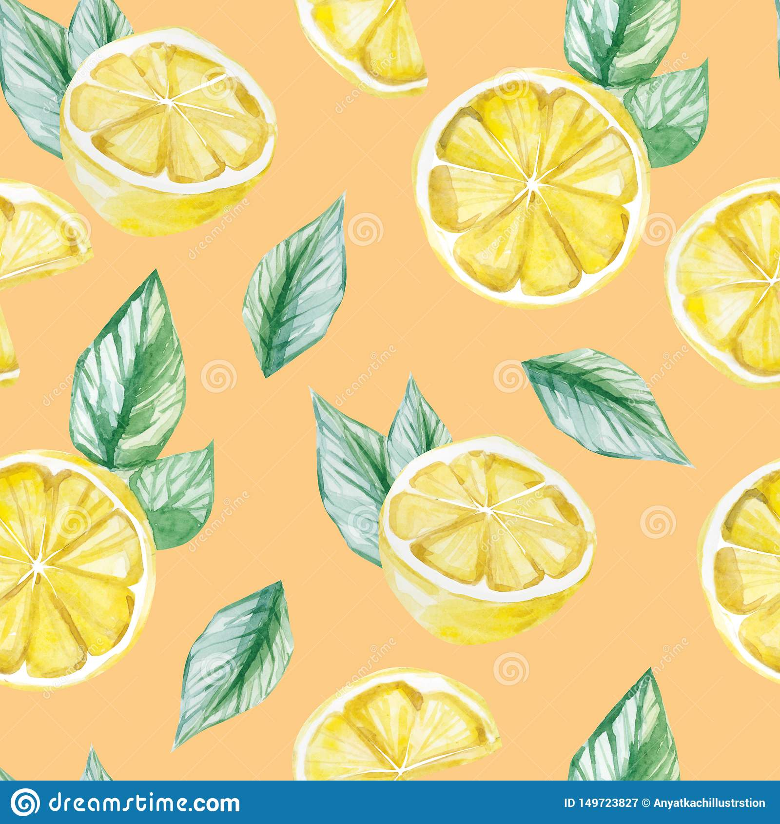 Watercolor Fruit Pattern Lemon Summer Print For The Textile