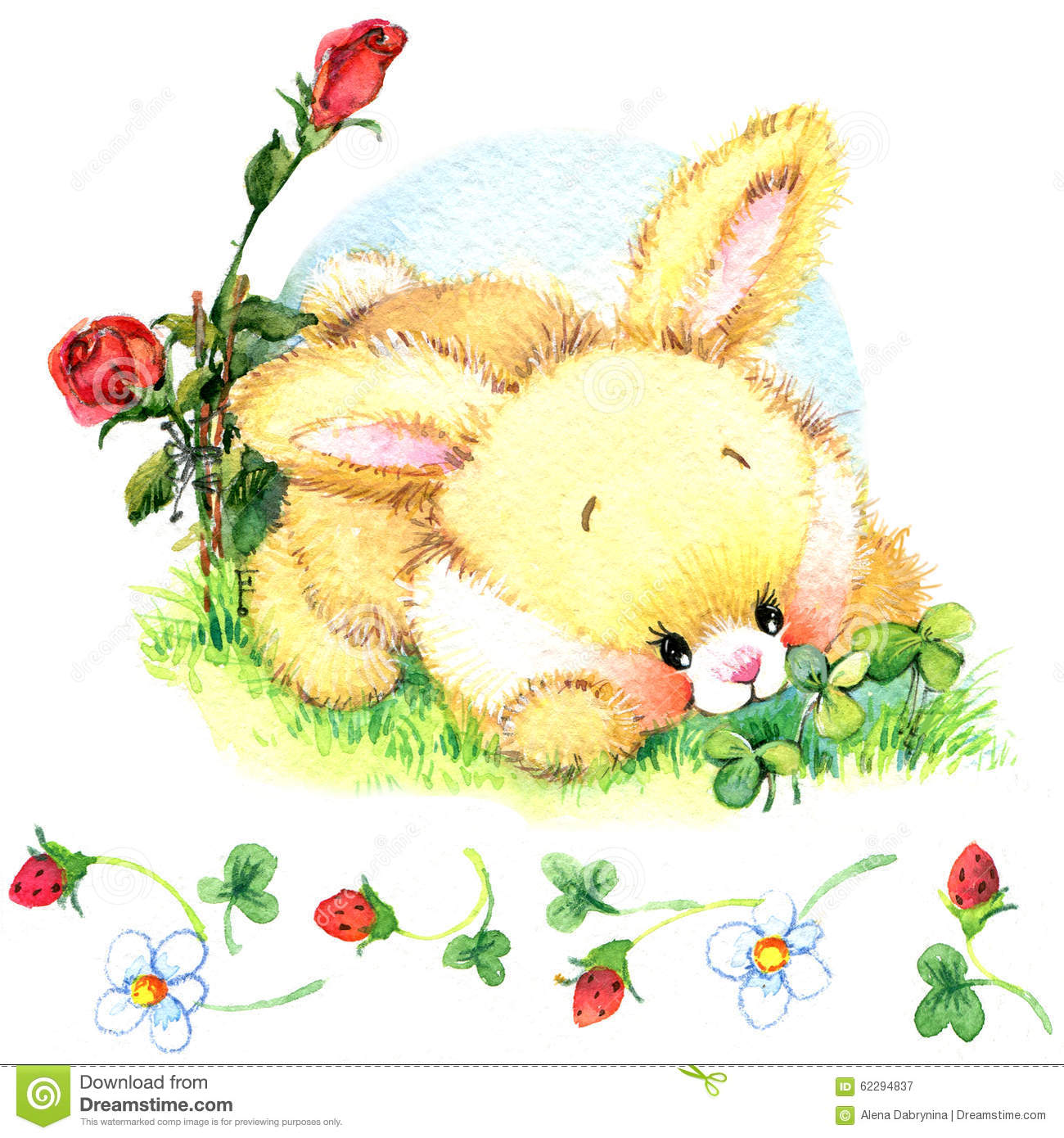 Watercolor Funny Bunny. Toy Bunny. Background For Kid. Stock ...