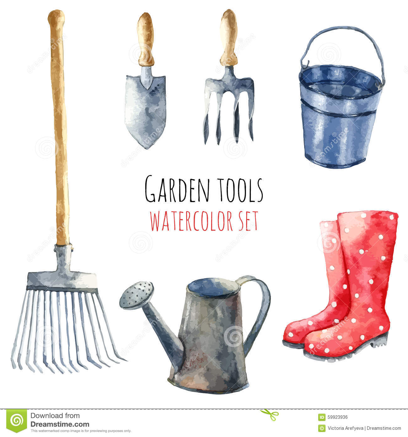 Watercolor garden tools stock illustration illustration for Gardening tools victoria
