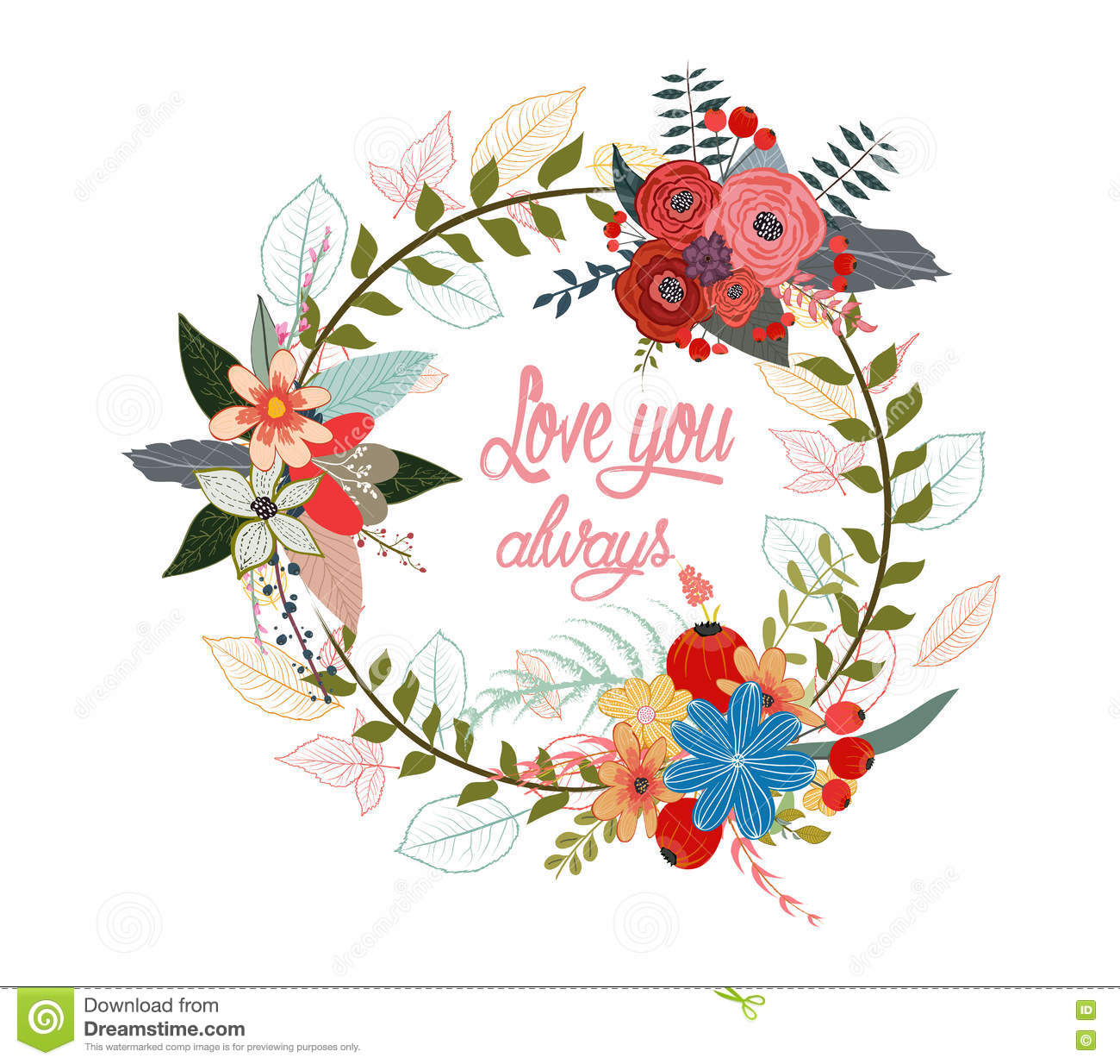 Watercolor Garland Flowers With Calligraphy Text Love You