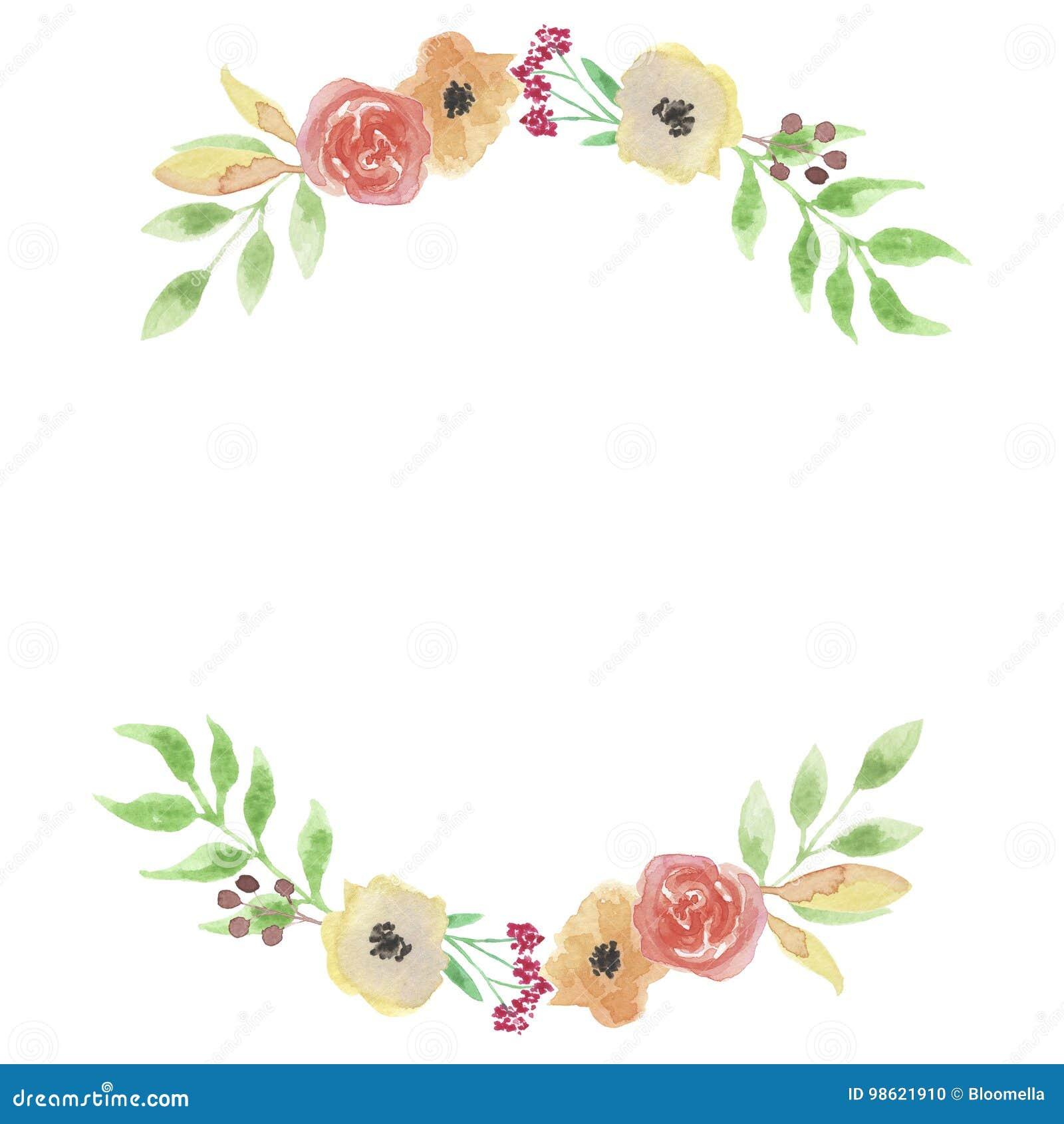 watercolor garland summer spring peach arch leaf wreath wedding