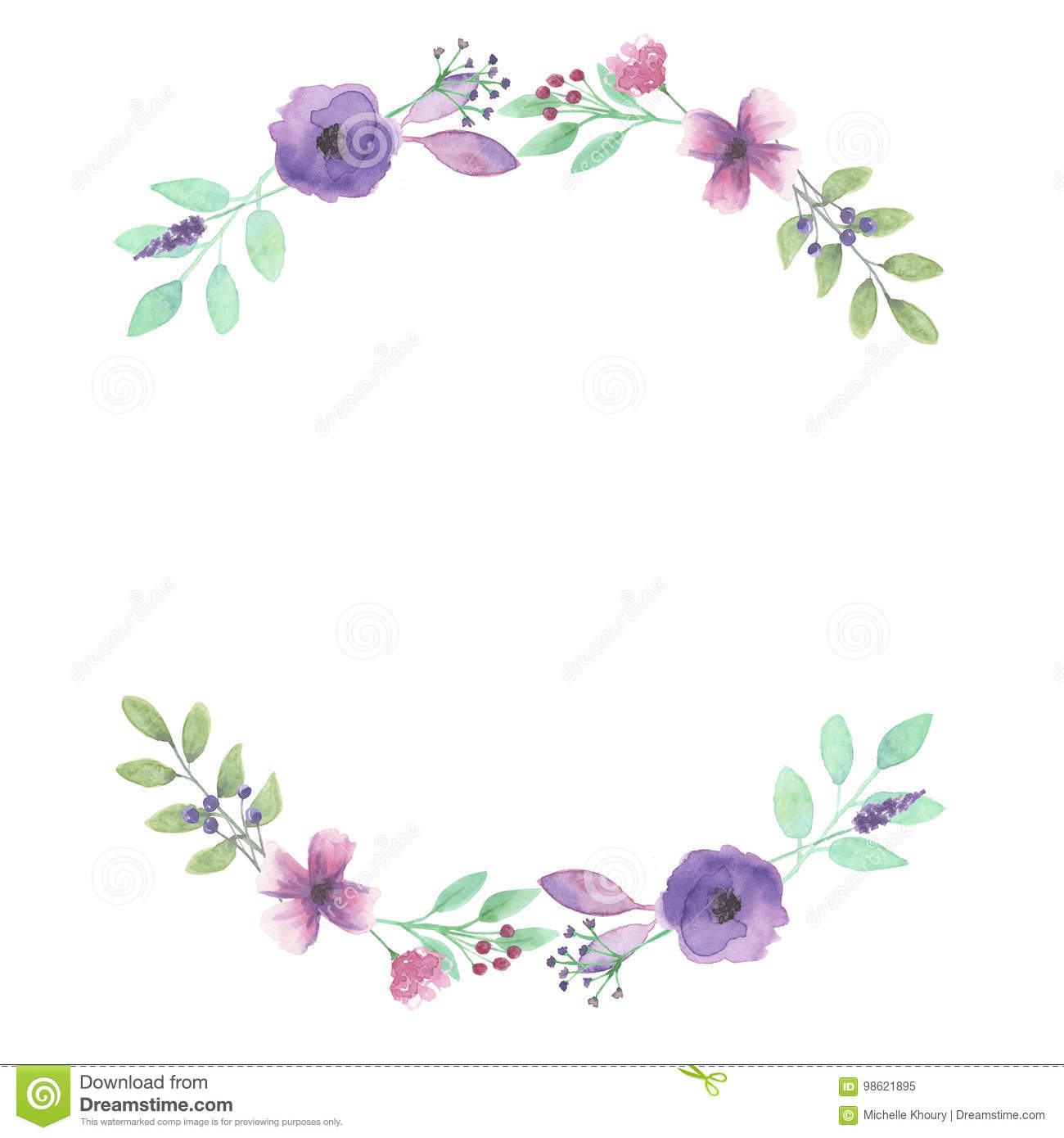 Watercolor Garland Summer Spring Purple Pink Arches Leaf ...