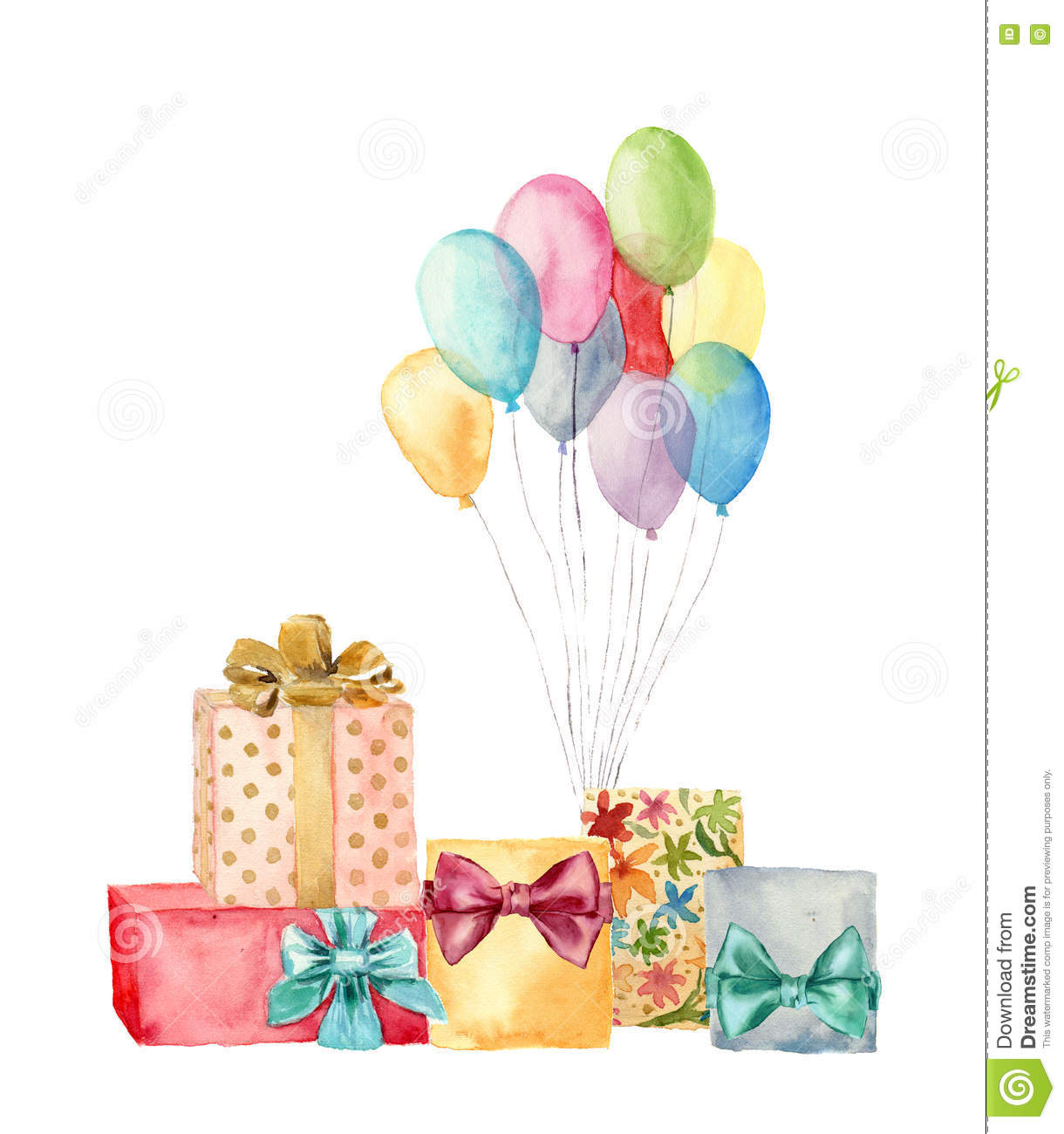 Watercolor Gift Boxes With Bow And Air Balloons Hand Painted Illustration Of Blue Pink Yellow Purple Birthday Gifts Set Isolated On White