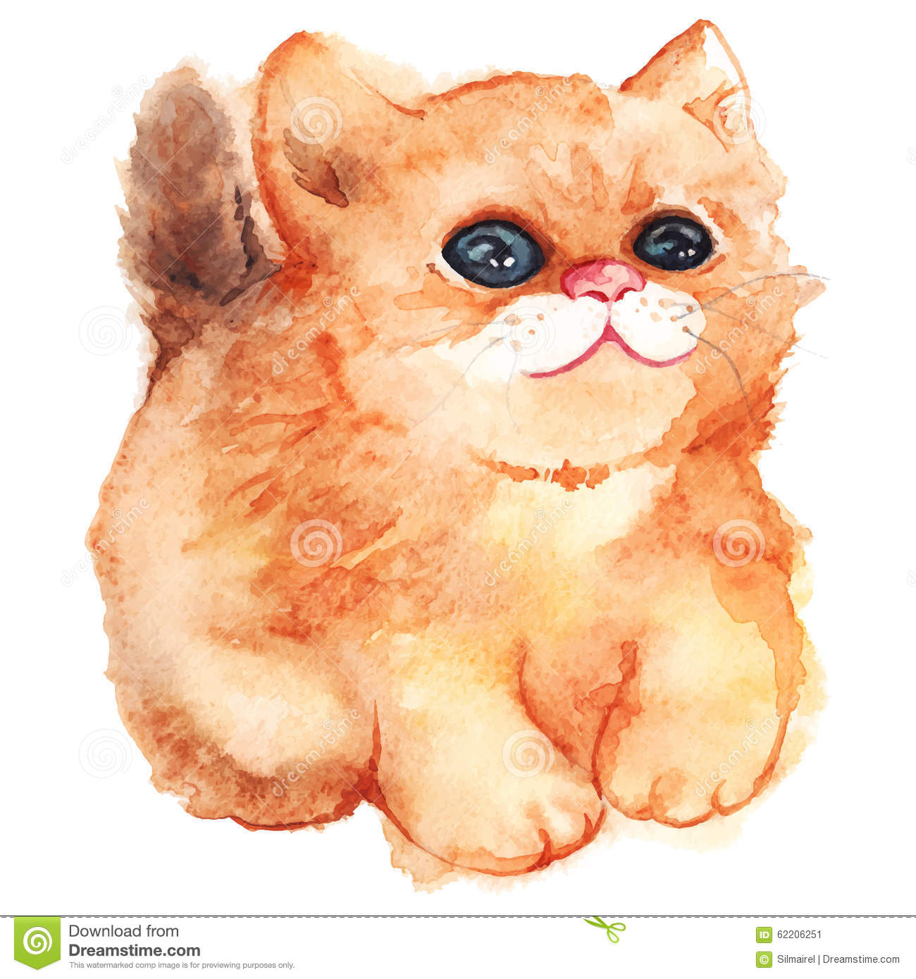 Ginger Desenho for watercolor cute cartoon fluffy ginger cat vector isolated stock