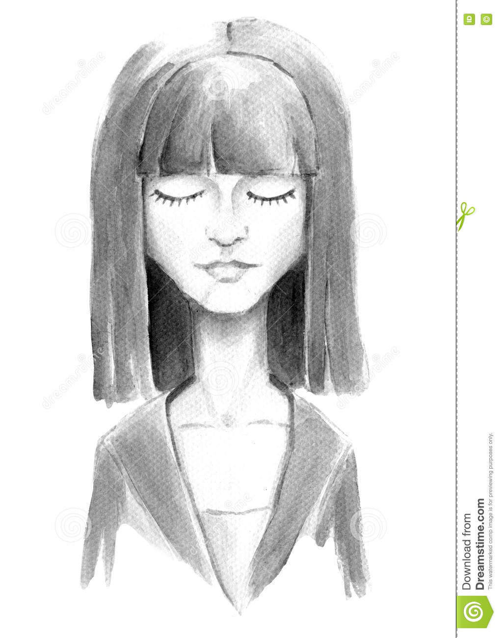 Watercolor Girl With Closed Eyes Stock Illustration Illustration