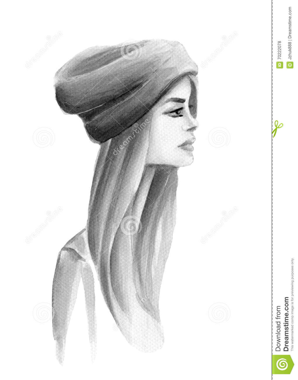 watercolor girl with a hat in profile stock illustration