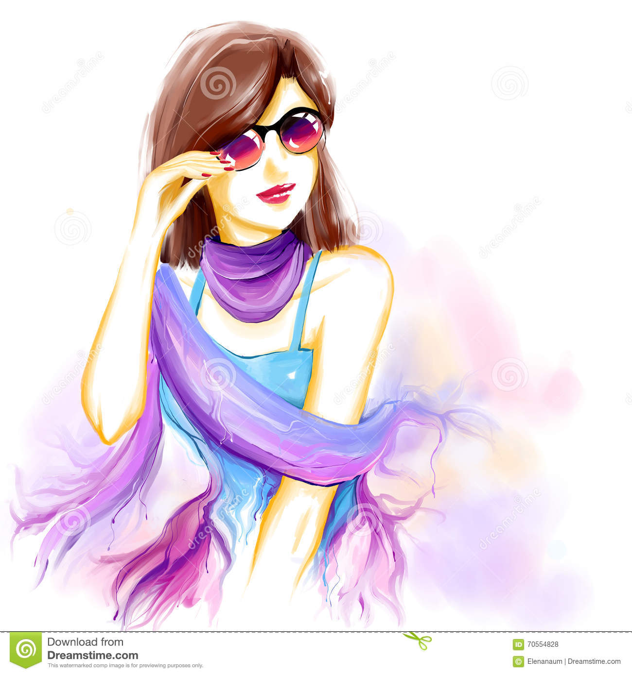 Watercolor Glamour Woman With Glasses Stock Illustration ...