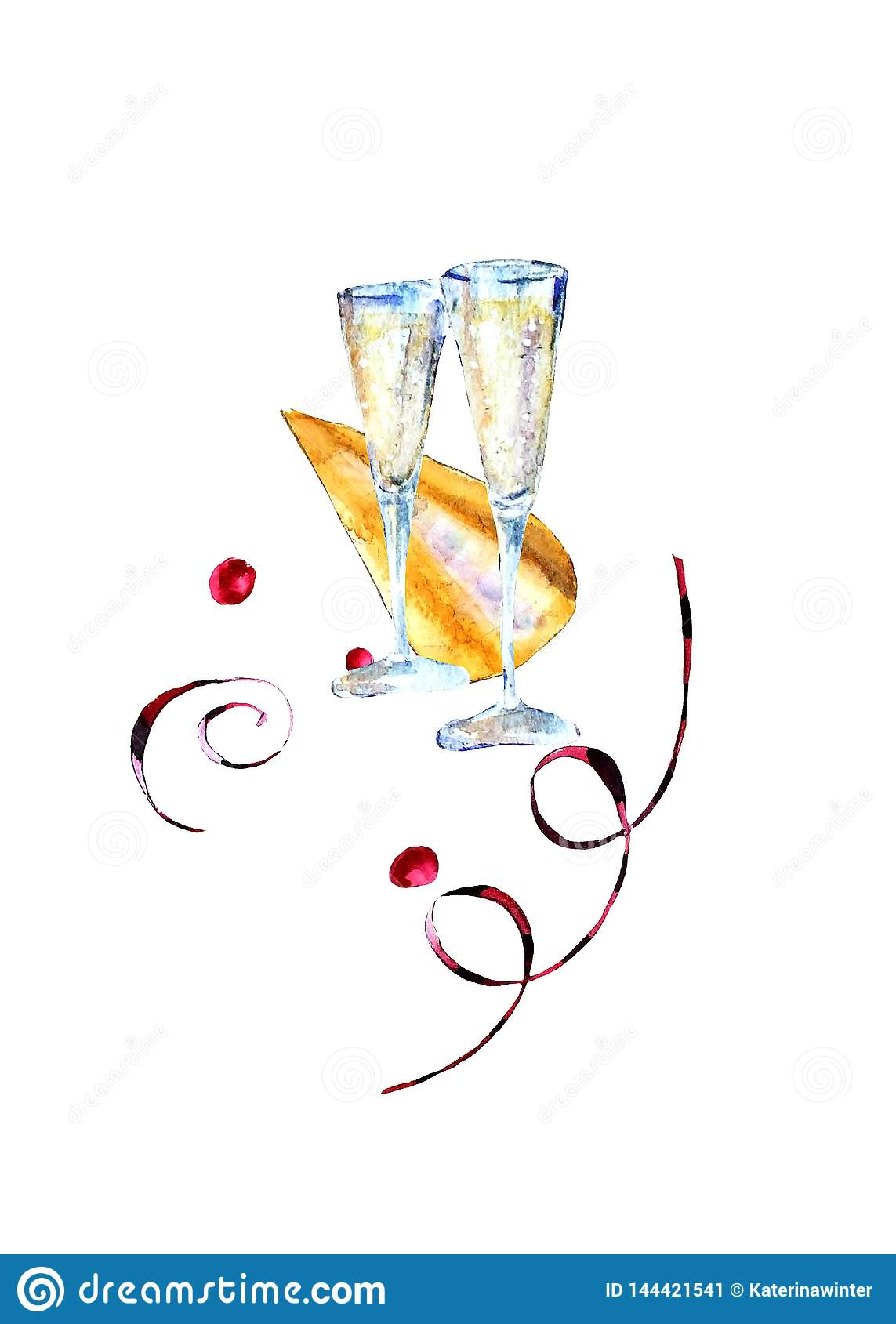 Watercolor glasses with sparkling wine, carnival hat and paper streamers