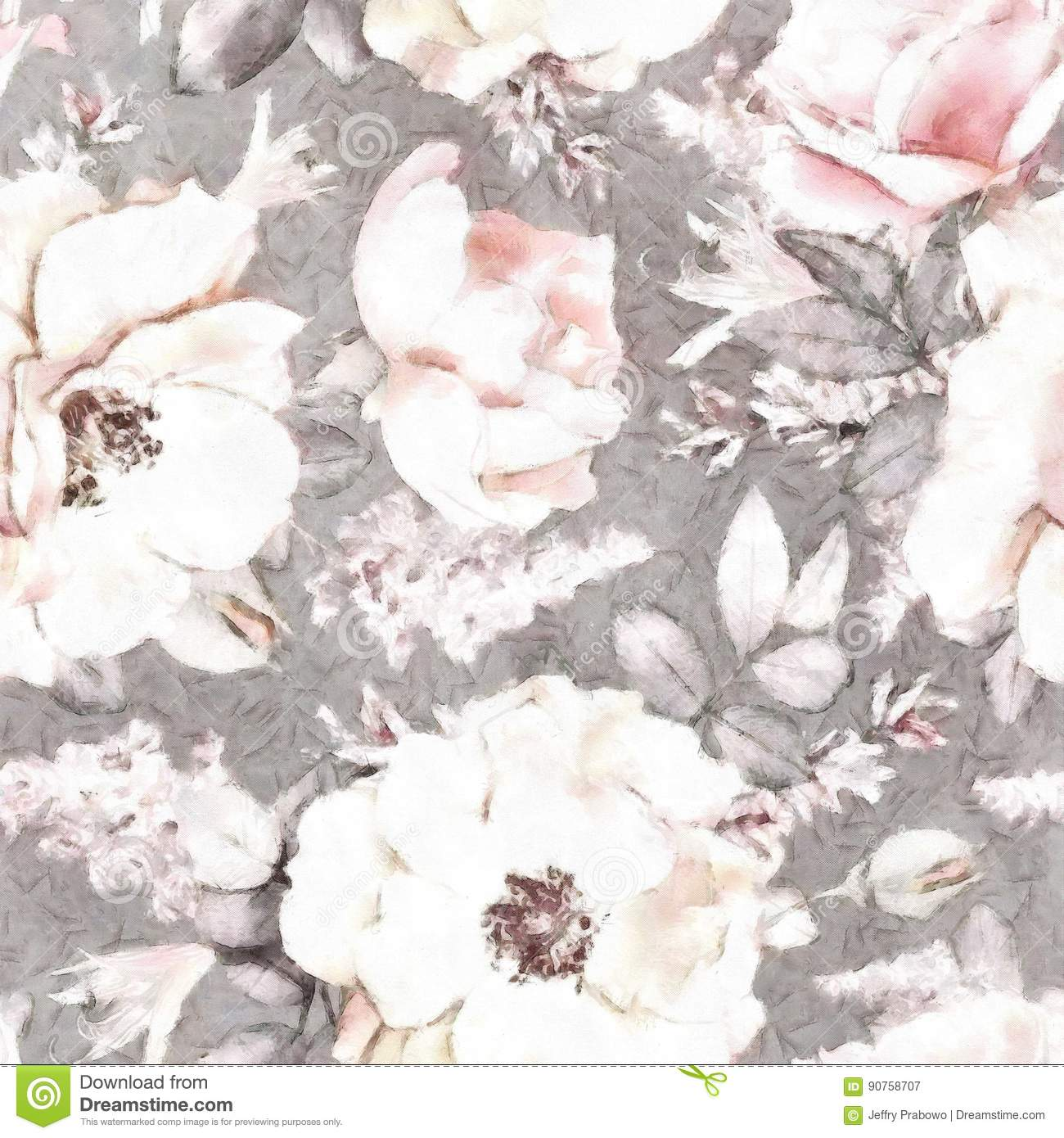 Watercolor Gray Background Floral Pattern Flower Seamless Pattern