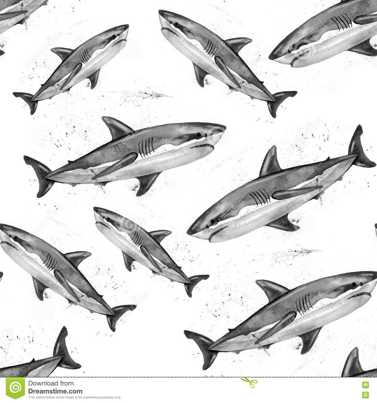 Watercolor great white shark pattern.