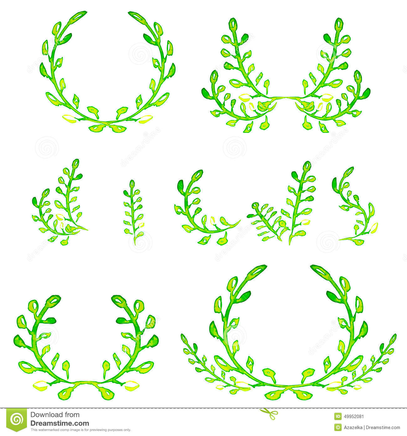 Watercolor Green Design Elements. Brushes, Borders, Wreath ...