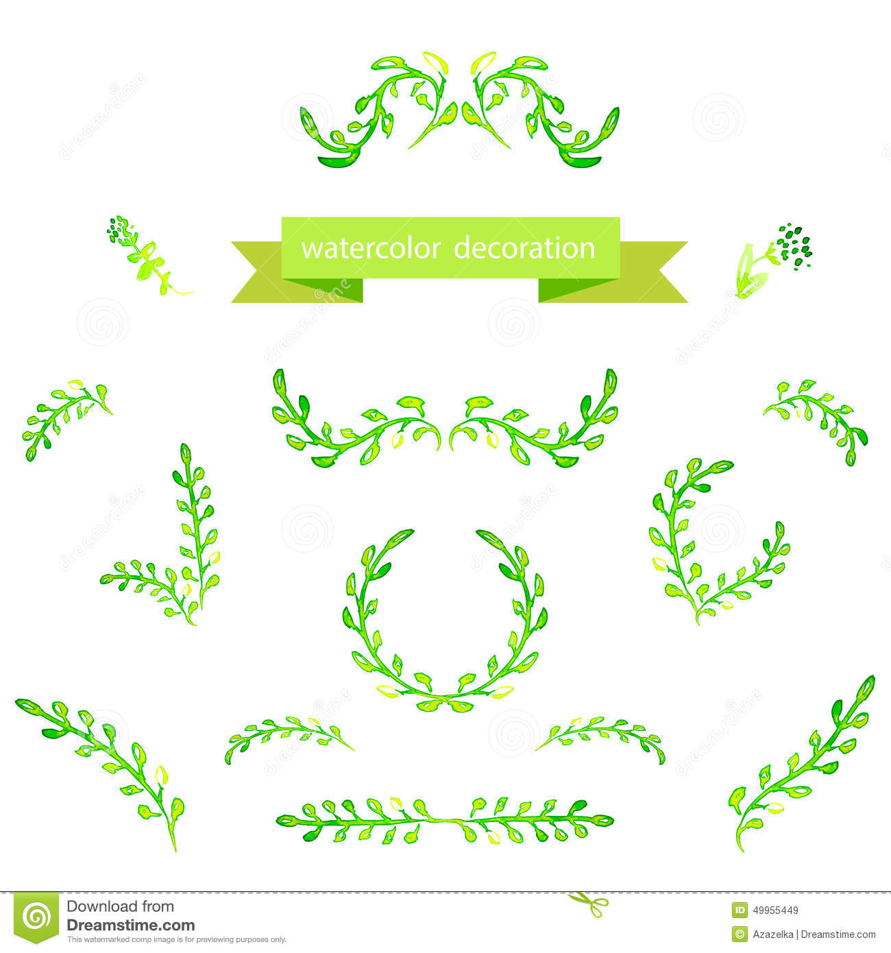 Watercolor Green Design Elements. Brushes, Borders, Wreath. Vector ...