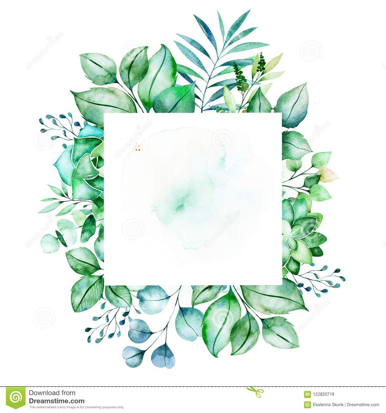 Leafy Frame Border With Succulent Plants Palm Leaves Branches Stock Illustration Illustration Of Colorful Border 122820719