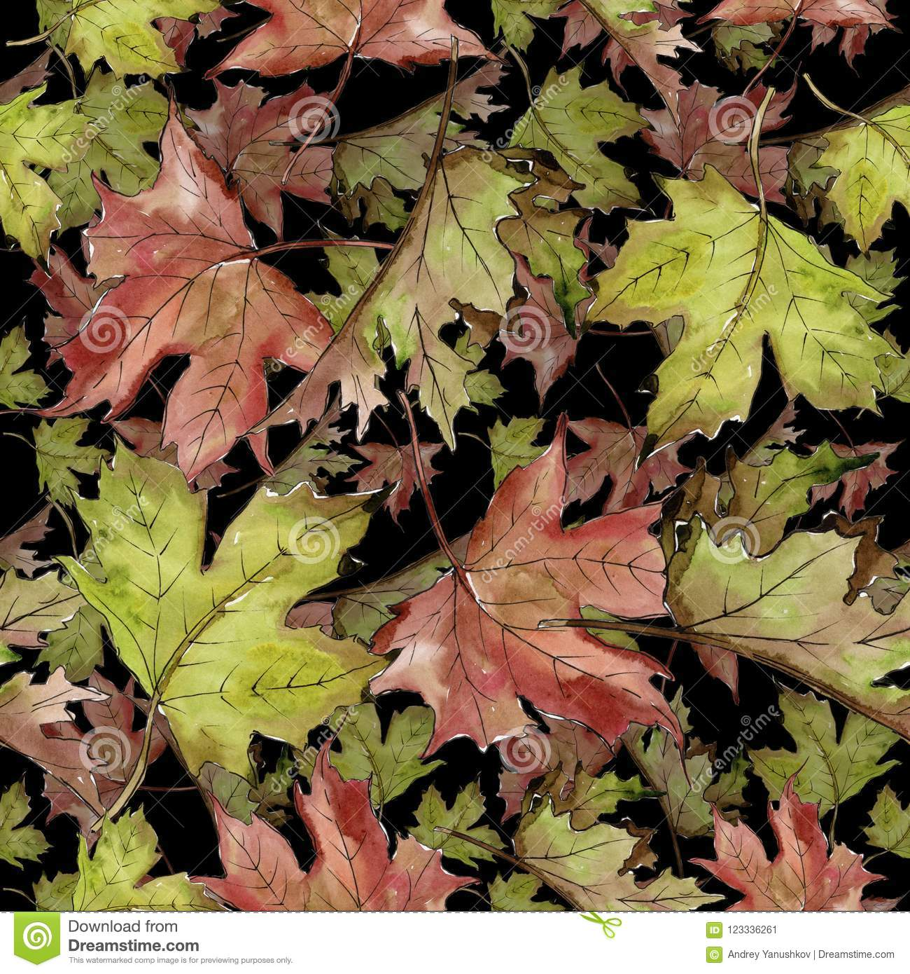 Watercolor Green And Red Maple Leaves. Leaf Plant Botanical Garden ...
