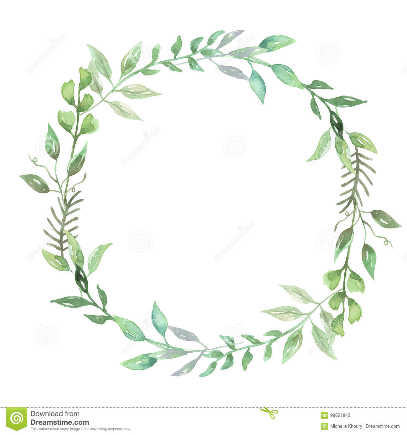 Download Watercolor Greenery Leaf Wreath Garland Spring Summer Wedding Leaves Stock Illustration
