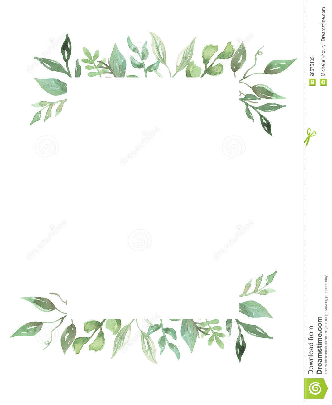 Watercolor Greenery Leaves Hand Painted Frame Wedding Foliage Wreath