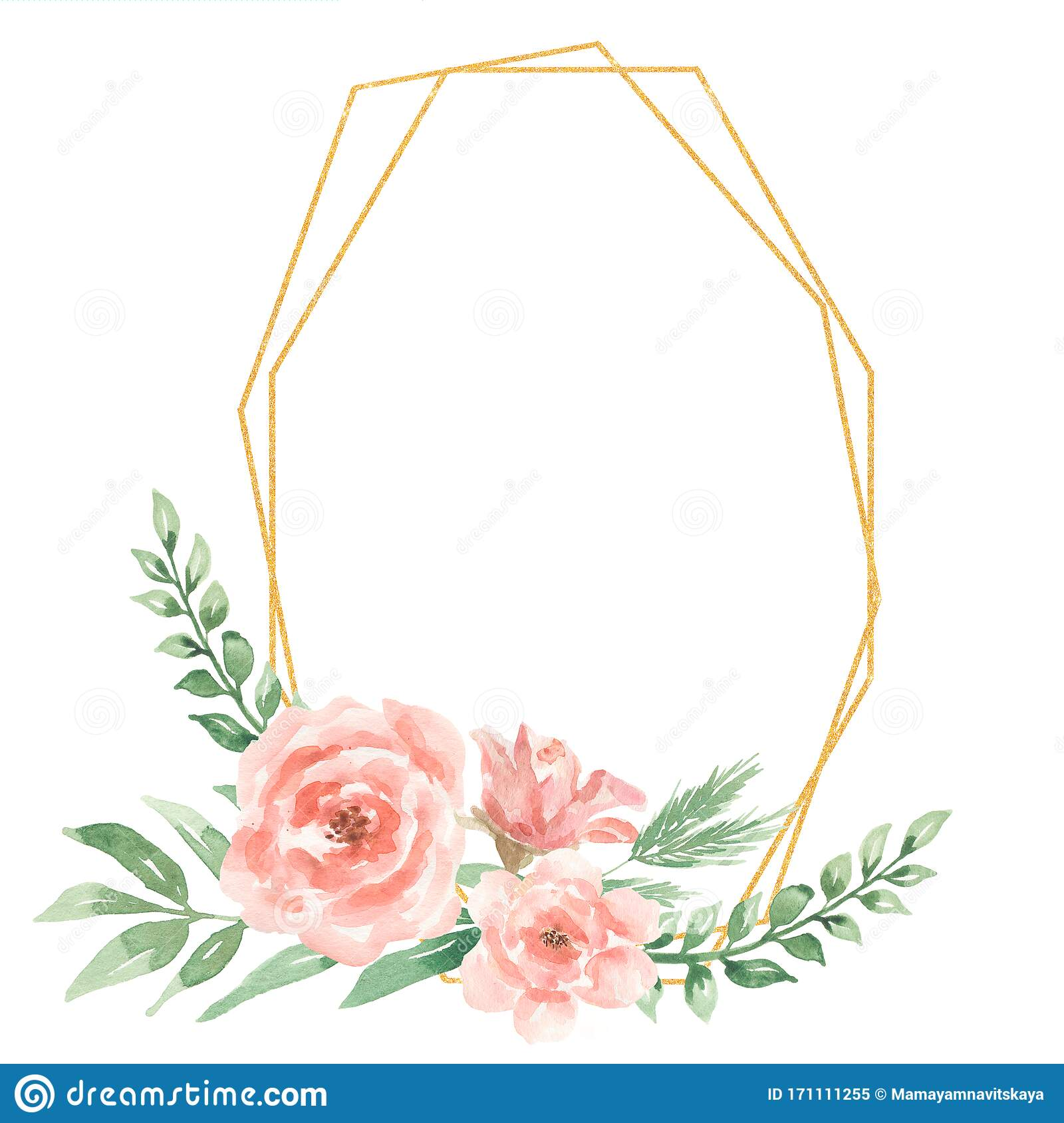 Watercolor Greenery And Peony Flowers Wreath Clipart Geometric Frame Spring Floral Wreath Wedding Invits Cards Gift Modern Stock Illustration Illustration Of Bouquet Greenery 171111255