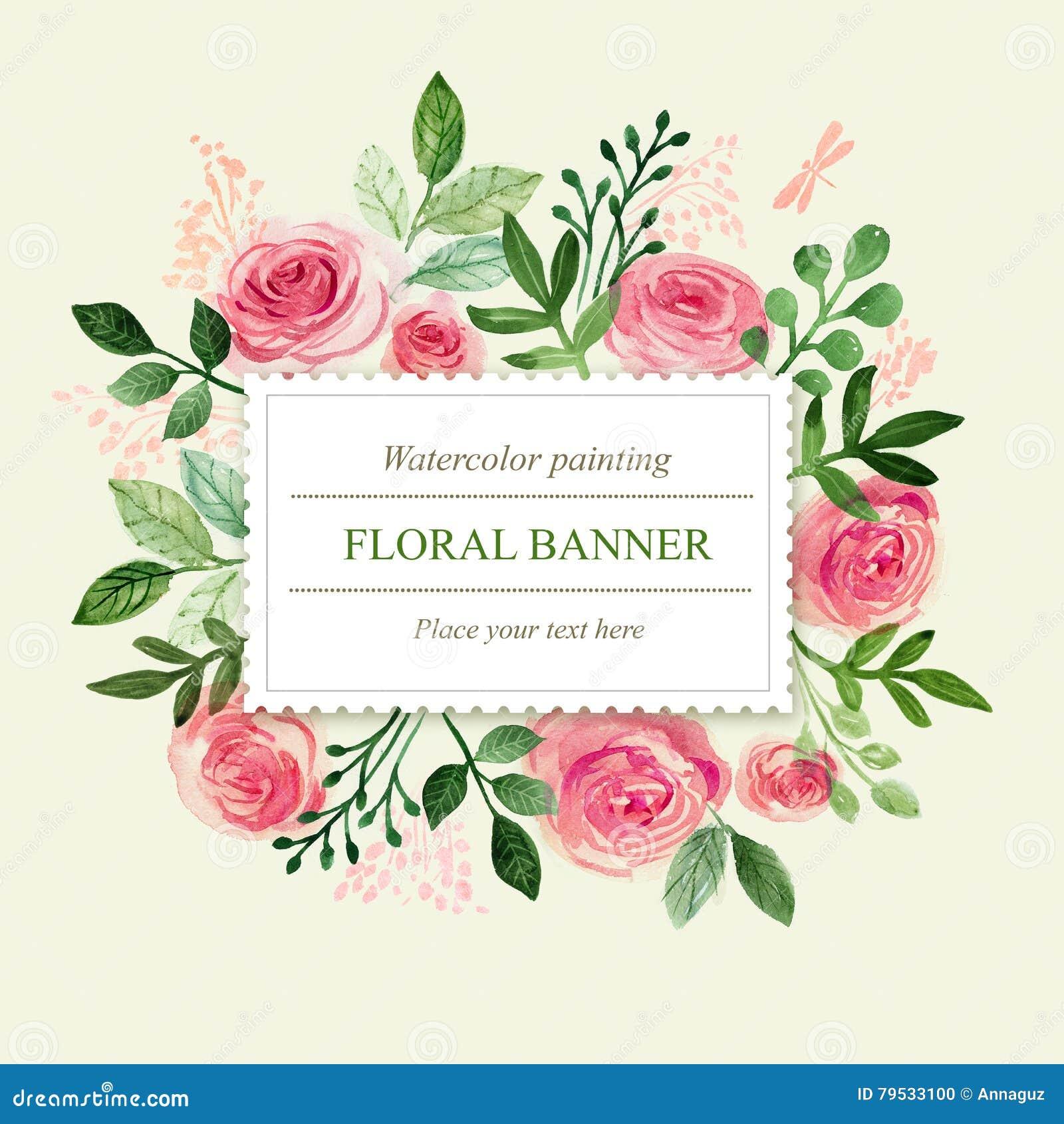 Watercolor Greeting Card Flowers. Handmade