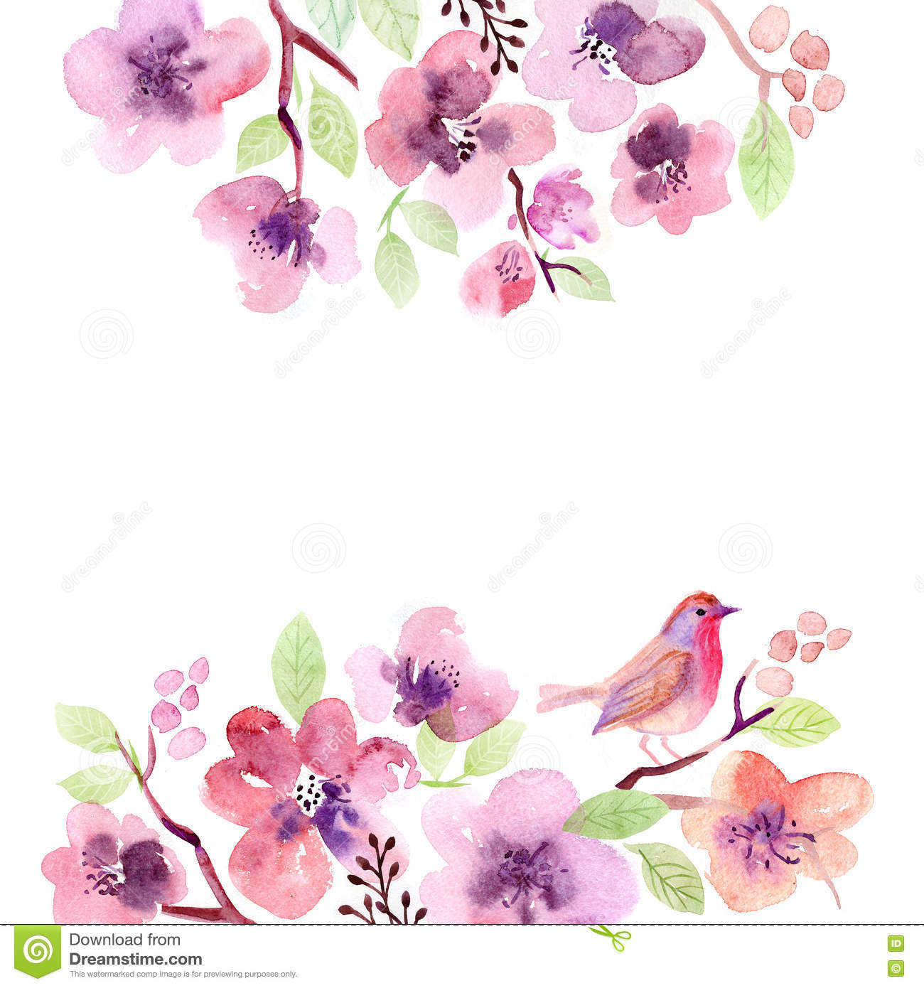 Greeting Card With Flowers Handmade Watercolor Painting Stock