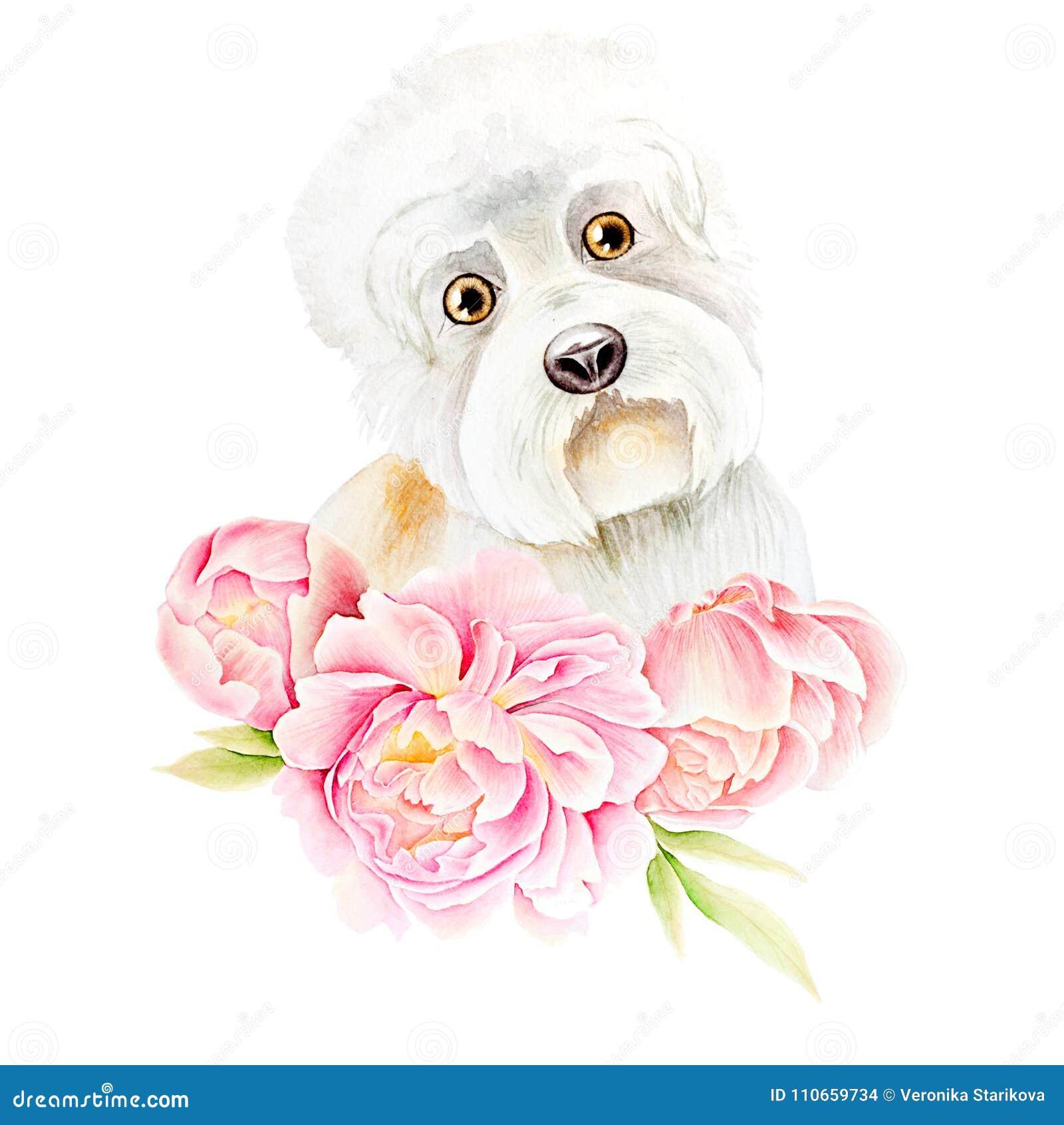 Card dog and flower stock illustration. Illustration of bouquet ...