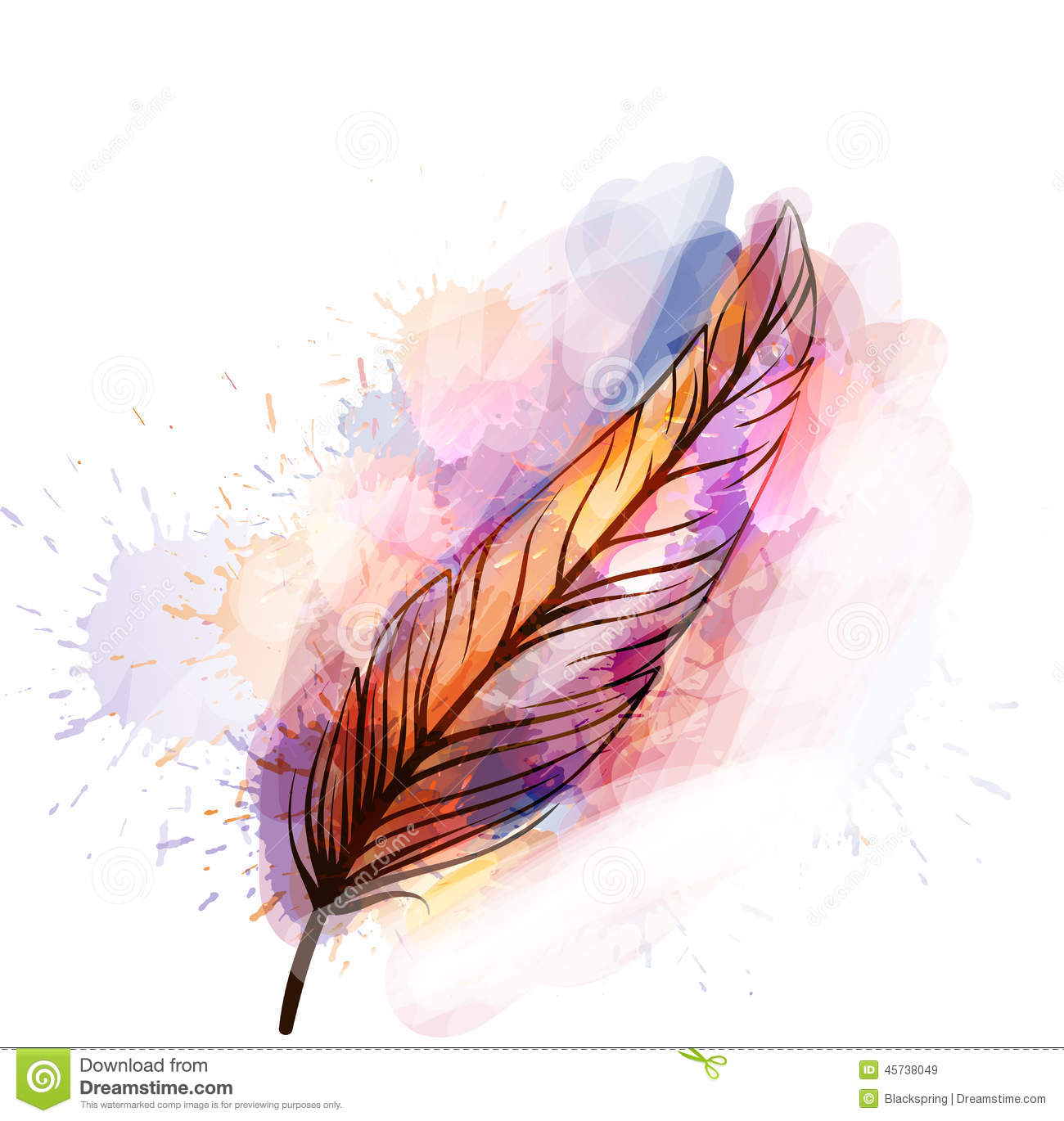 Watercolor Grunge Feather Stock Vector Image Of Sketch 45738049