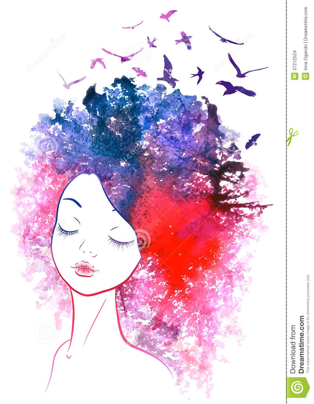 Watercolor hair girl stock vector image of happy drawing for Pretty watercolor pictures