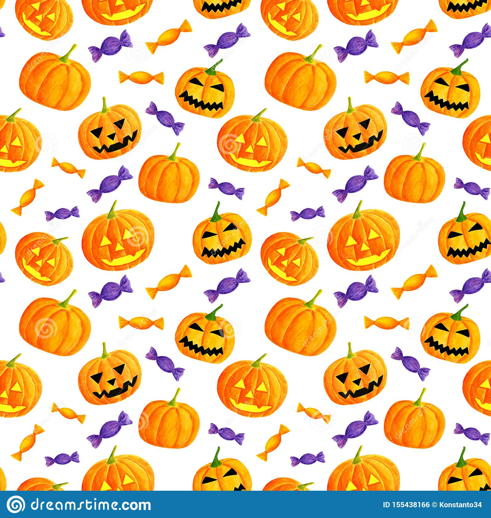 Watercolor Halloween Pumpkin And Sweets Seamless Pattern Hand Drawn Jack O Lantern Face Illustration Cute Background Stock Illustration Illustration Of Drawing Cute 155438166