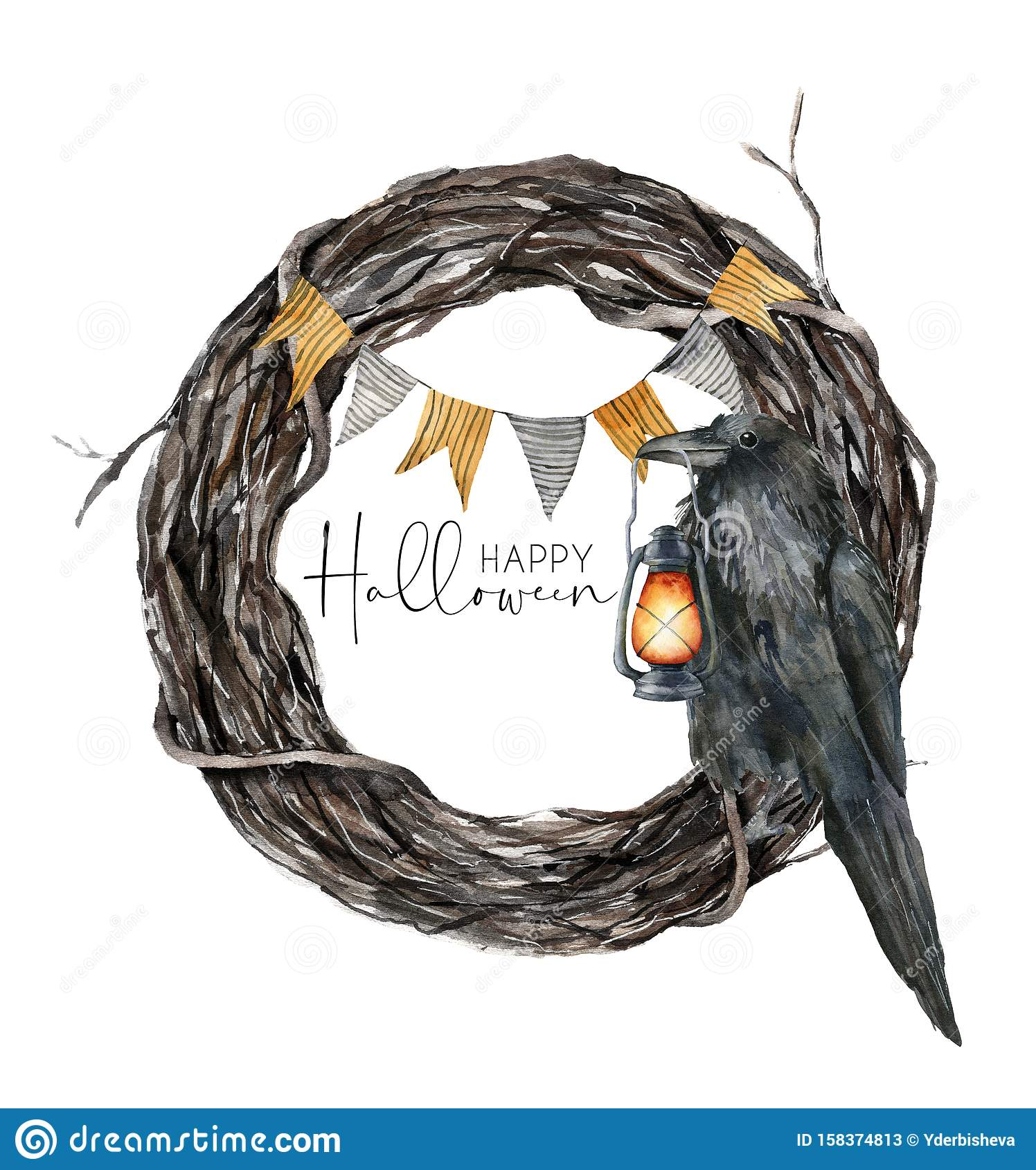 Watercolor Halloween Wreath With Crow Hand Painted Holiday Template With Flag Garland And Lantern Isolated On White Stock Illustration Illustration Of Invitation Border 158374813