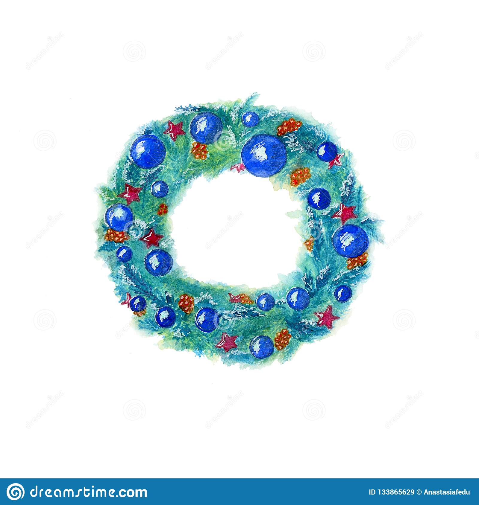 Watercolor hand drawn christmas wreath in blue color with decor isolated on white background.