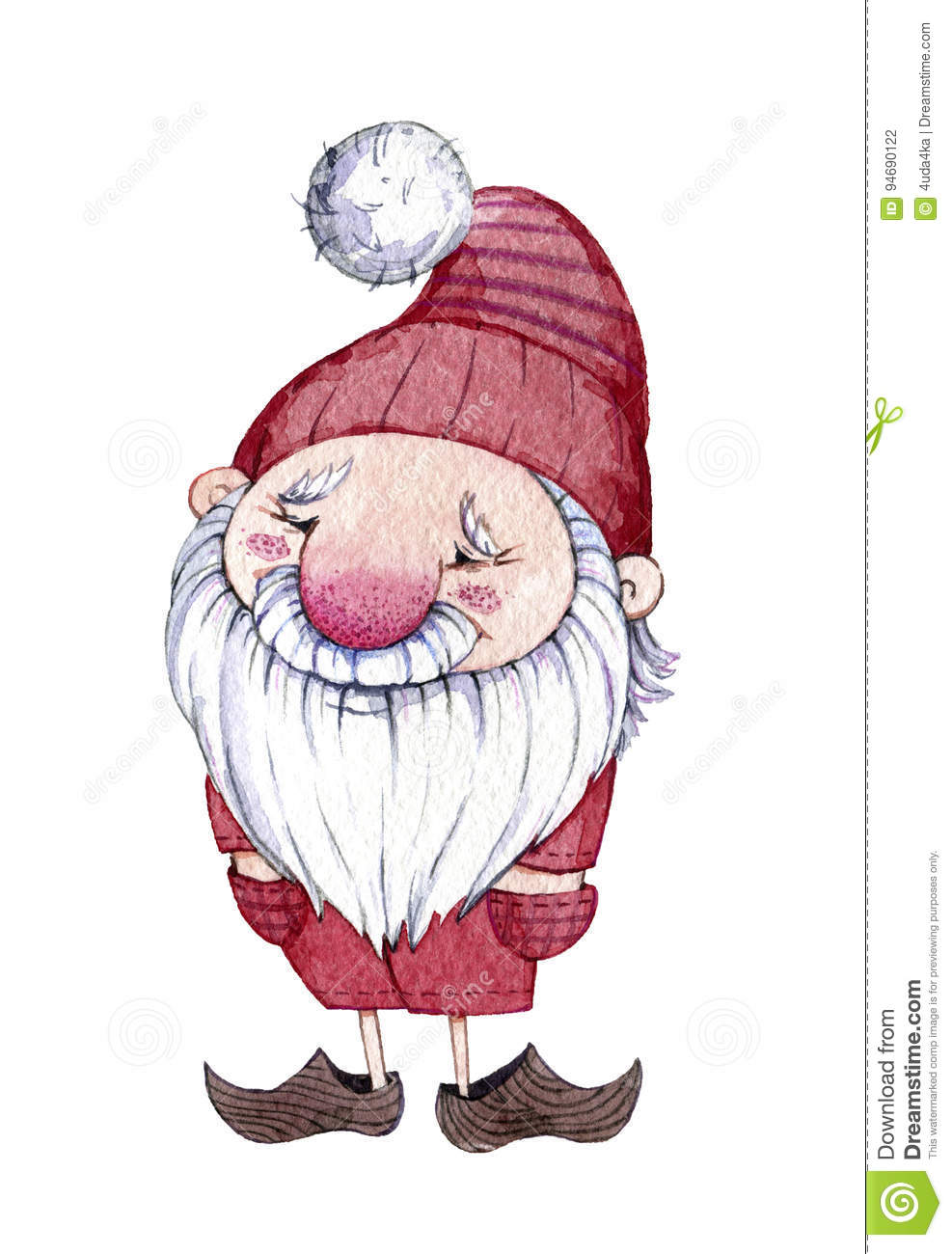 Watercolor Hand Drawn Fabulous Character Gnome. Stock Illustration ...