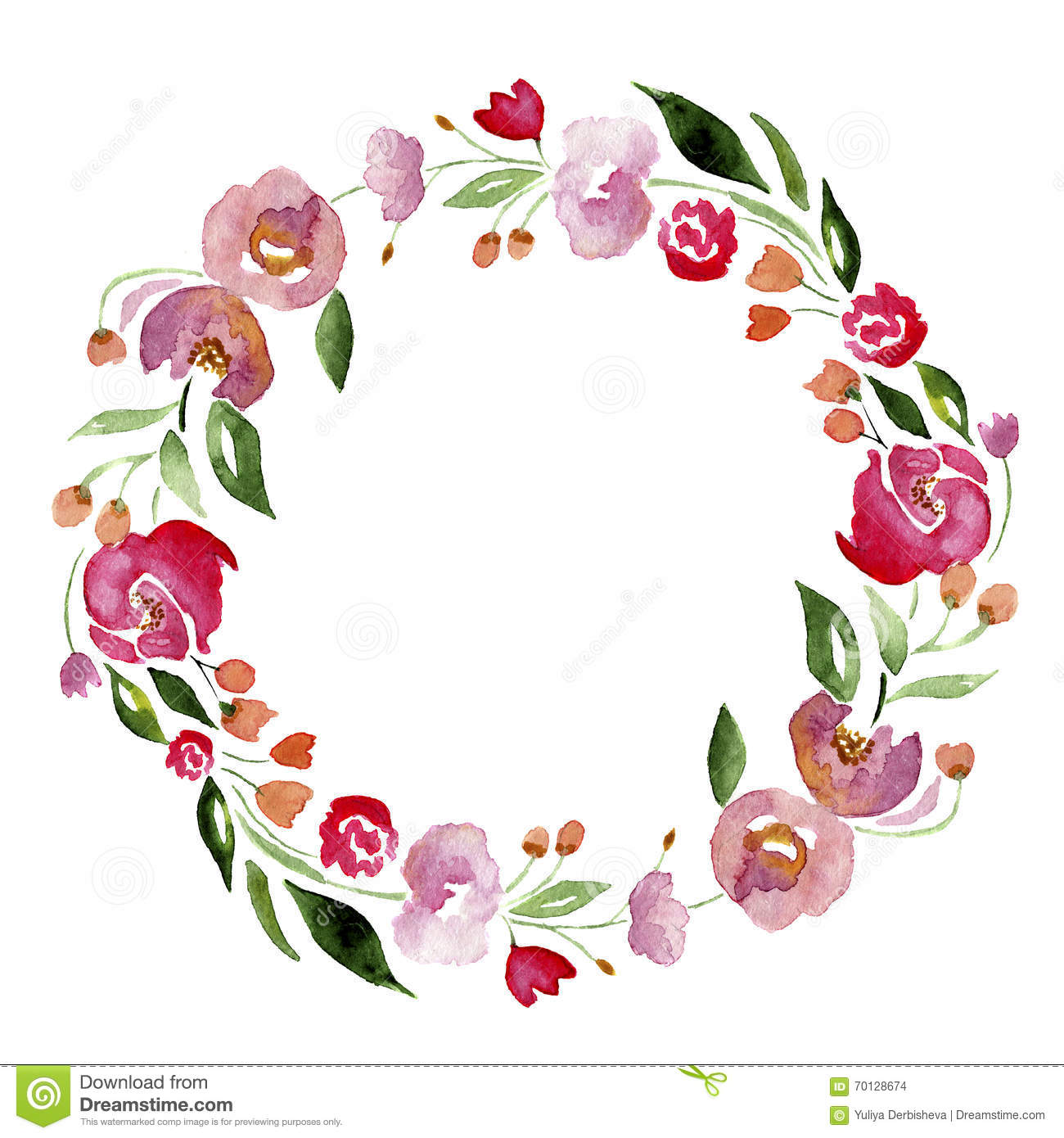 Watercolor Hand Drawn Flower Wreath For Design Artistic